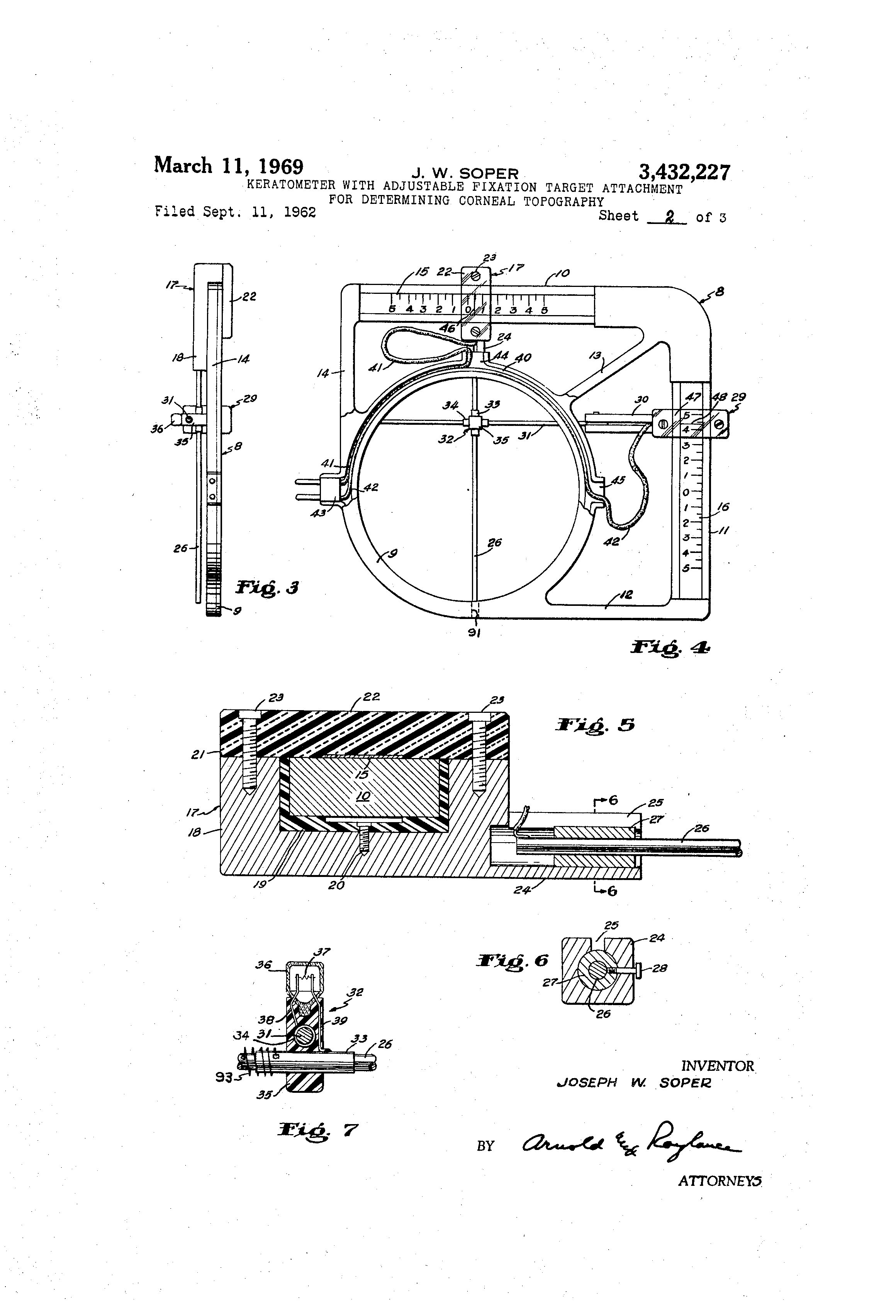 Patent US3432227 - Keratometer with adjustable fixation target