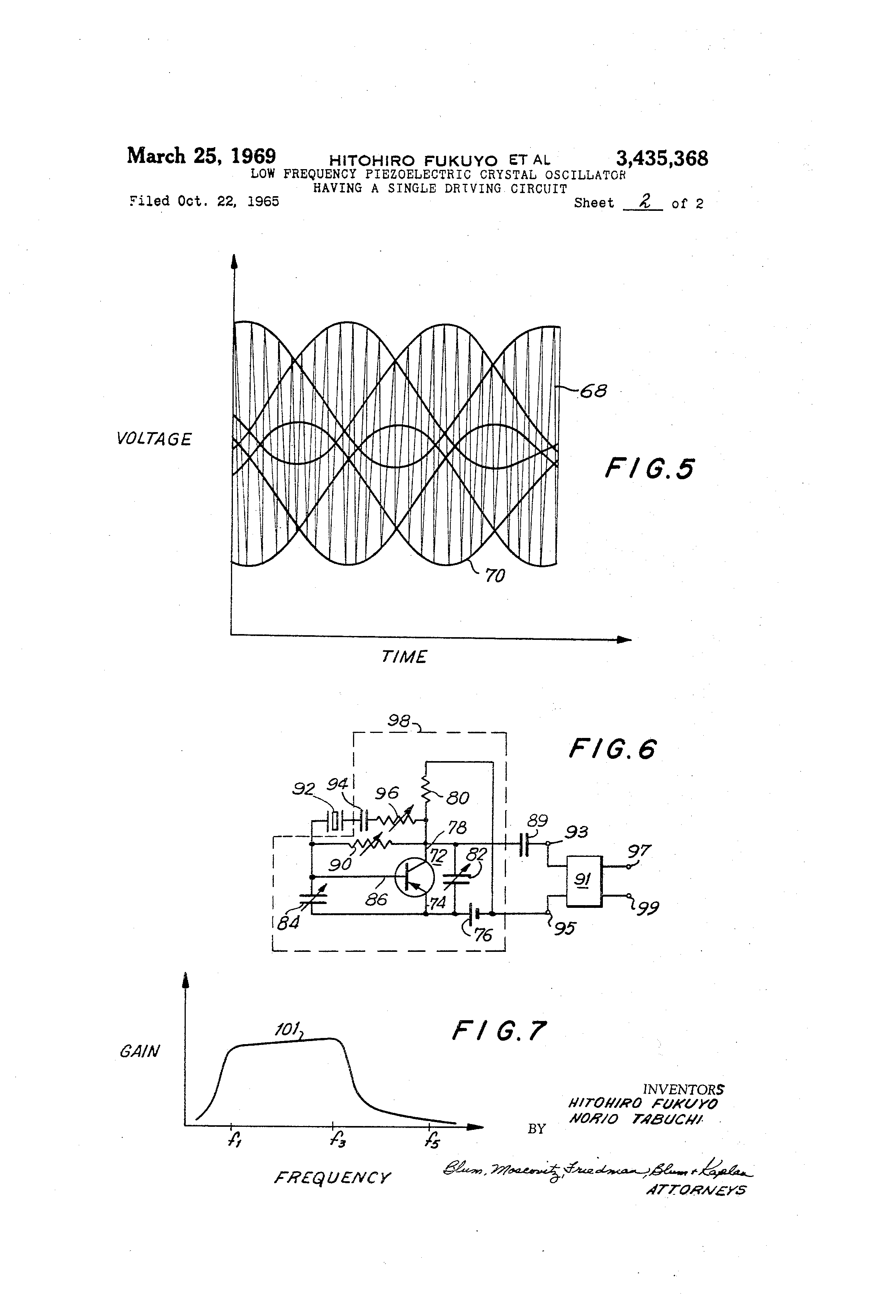 Brevet Us3435368 Low Frequency Piezoelectric Crystal Oscillator Piezo Driver Circuit Patent Drawing