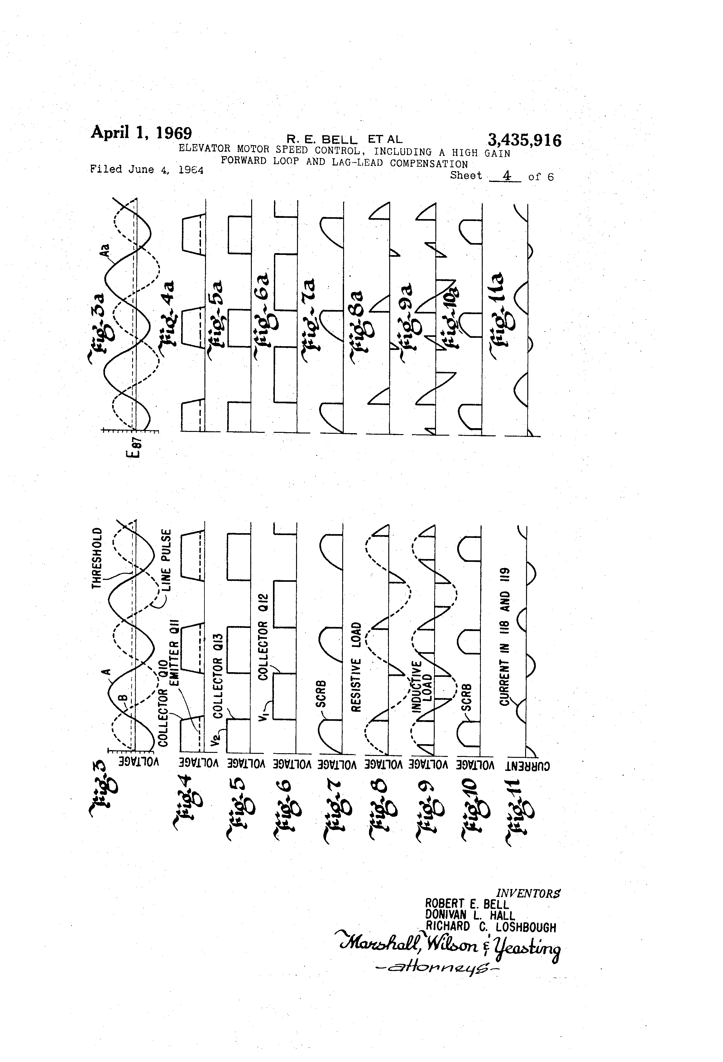 patent us3435916 elevator motor speed including a high gain forward loop and lag lead