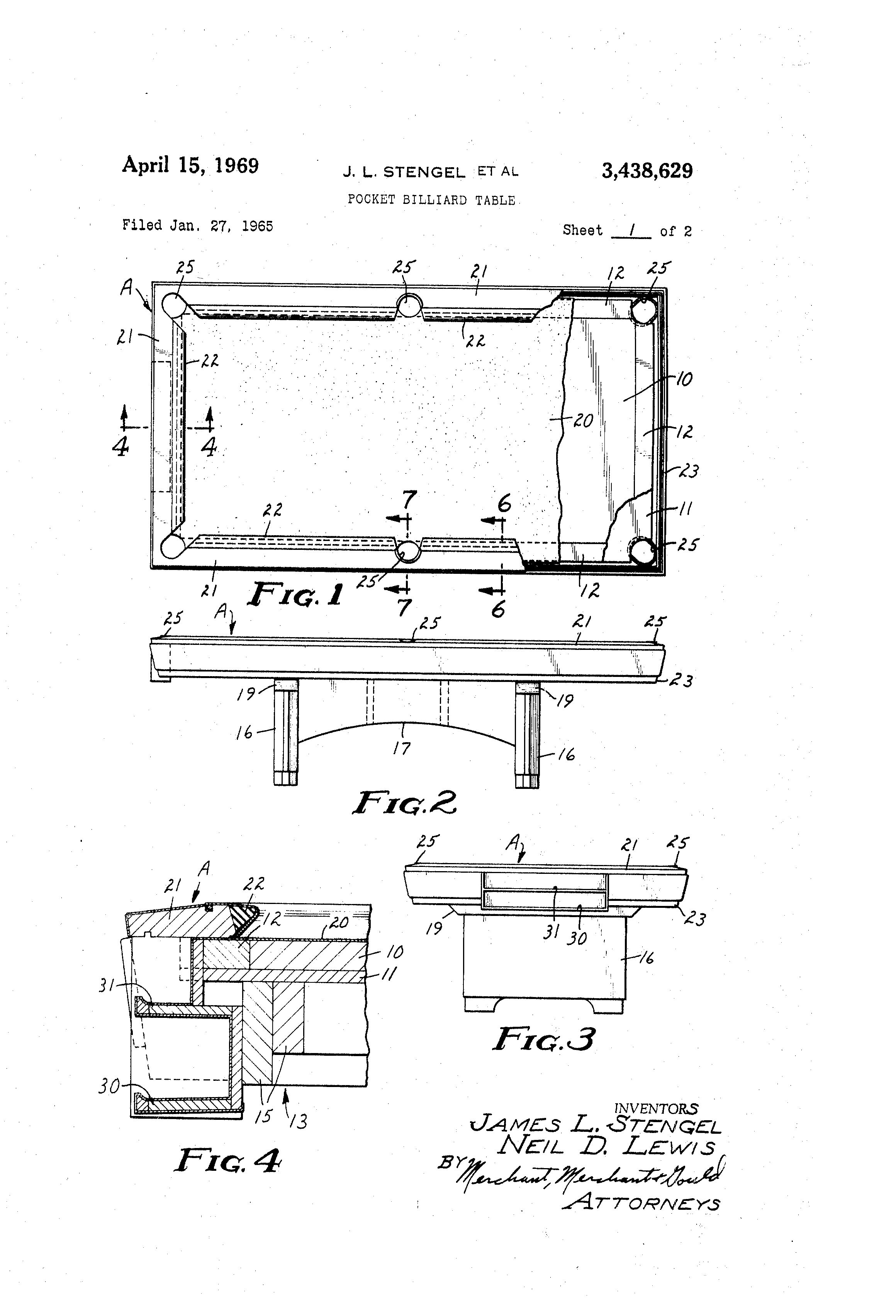 Patent Us3438629 Pocket Billiard Table Google Patents