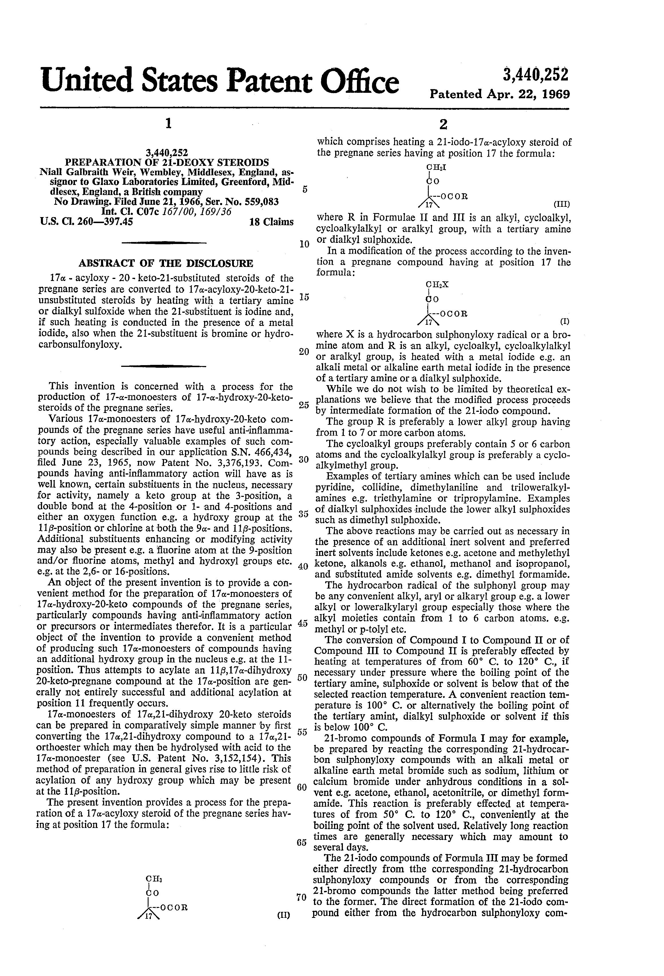 Patent Us3440252 Preparation Of 21 Deoxy Steroids Google Patentsuche