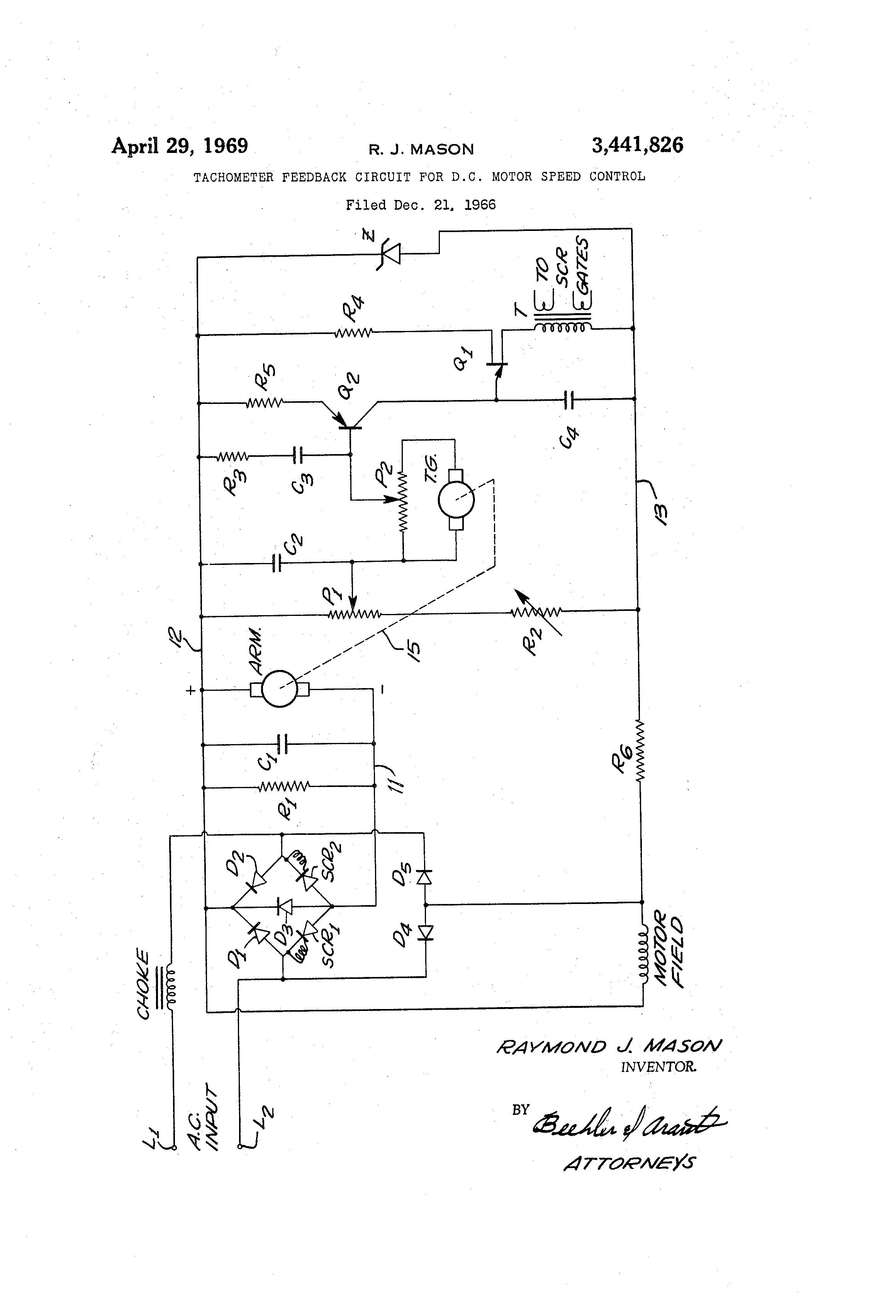 patent us3441826 tachometer feedback circuit for d c motor patent drawing
