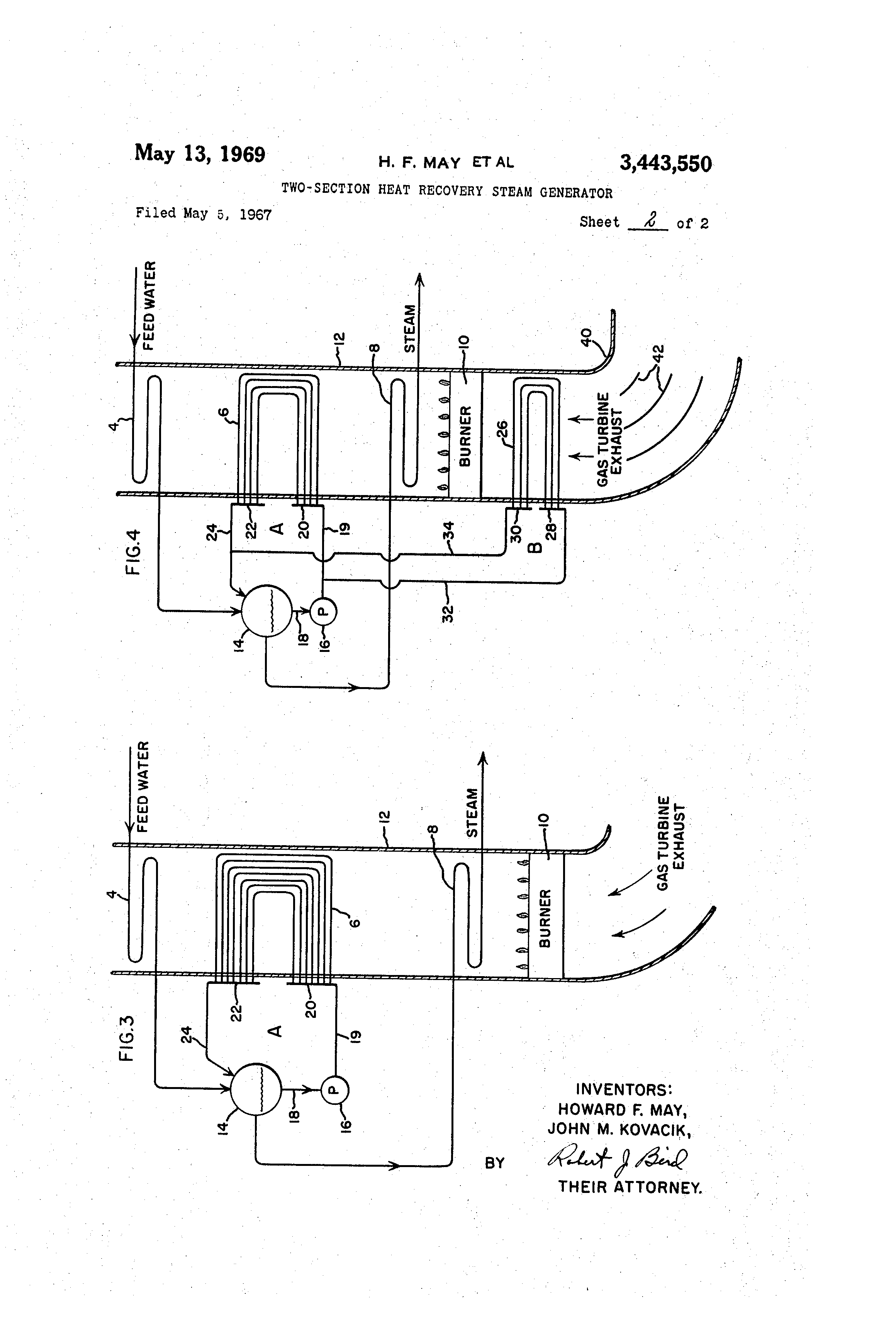 Patent US Two section heat recovery steam generator