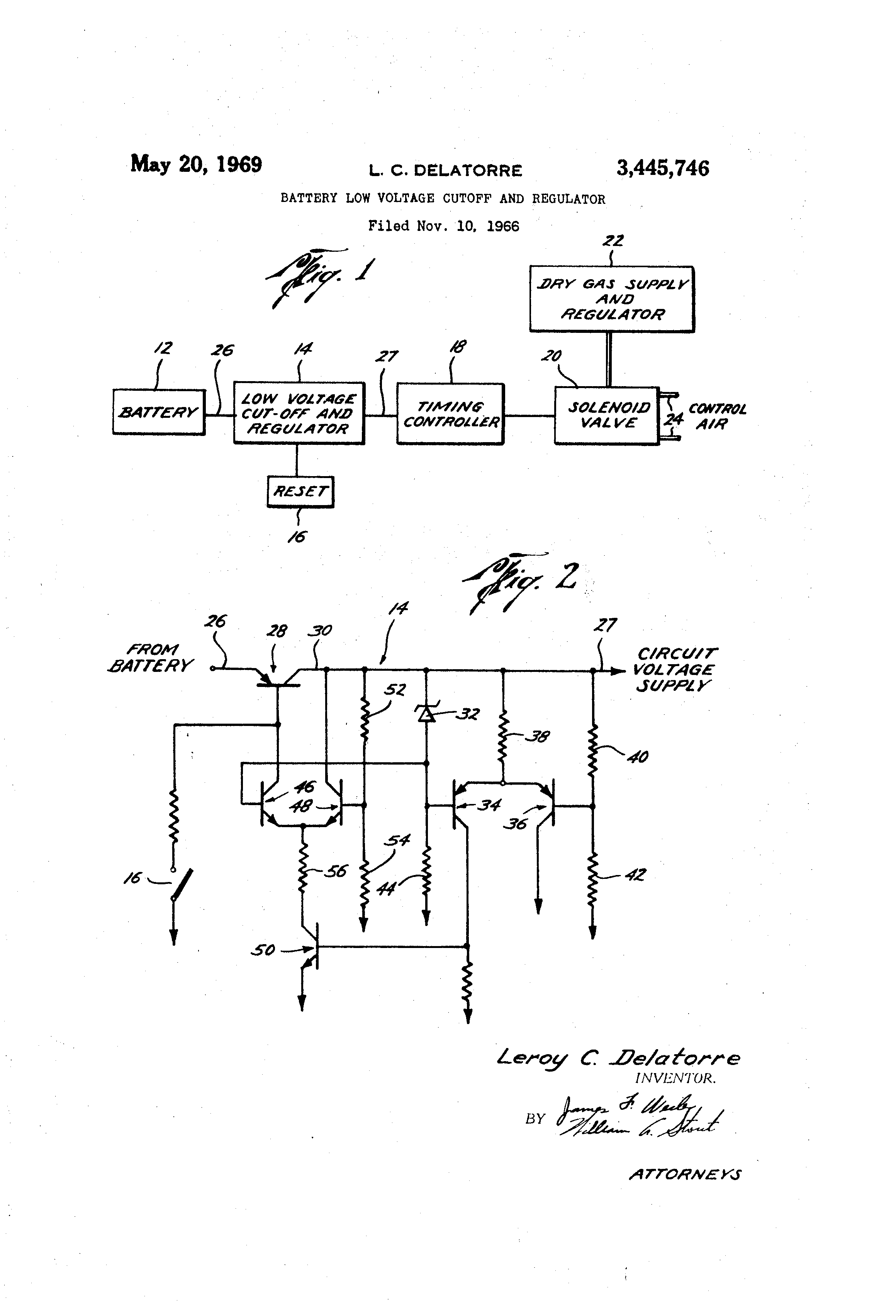 Patent US3445746 - Battery low voltage cutoff and regulator