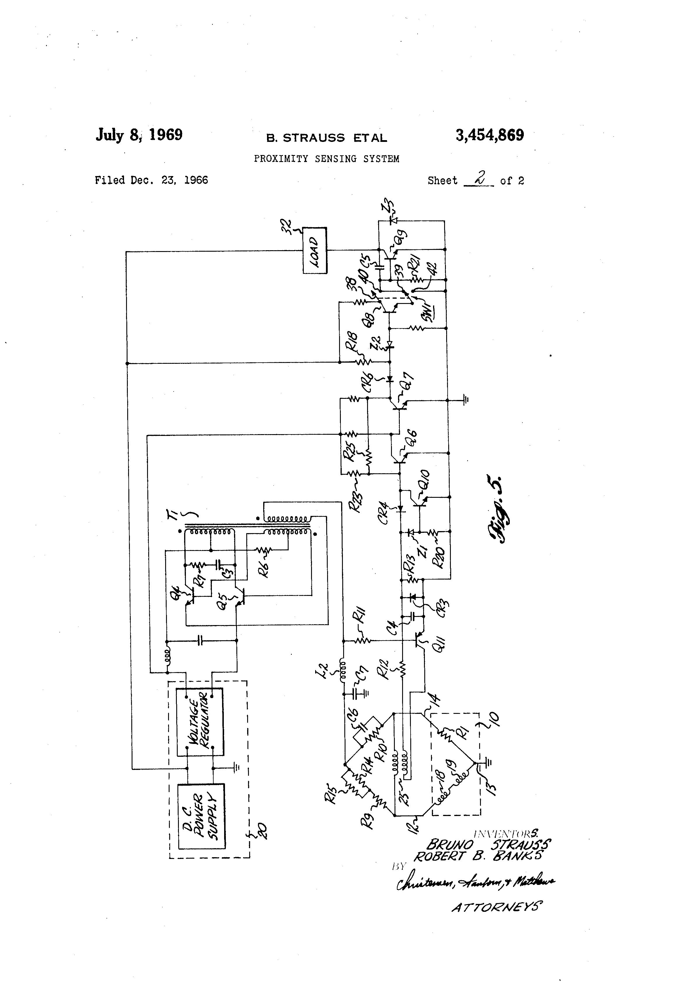 Us3454869 Proximity Sensing System Circuit Diagram For Generator On Inductive Sensor Patent Drawing