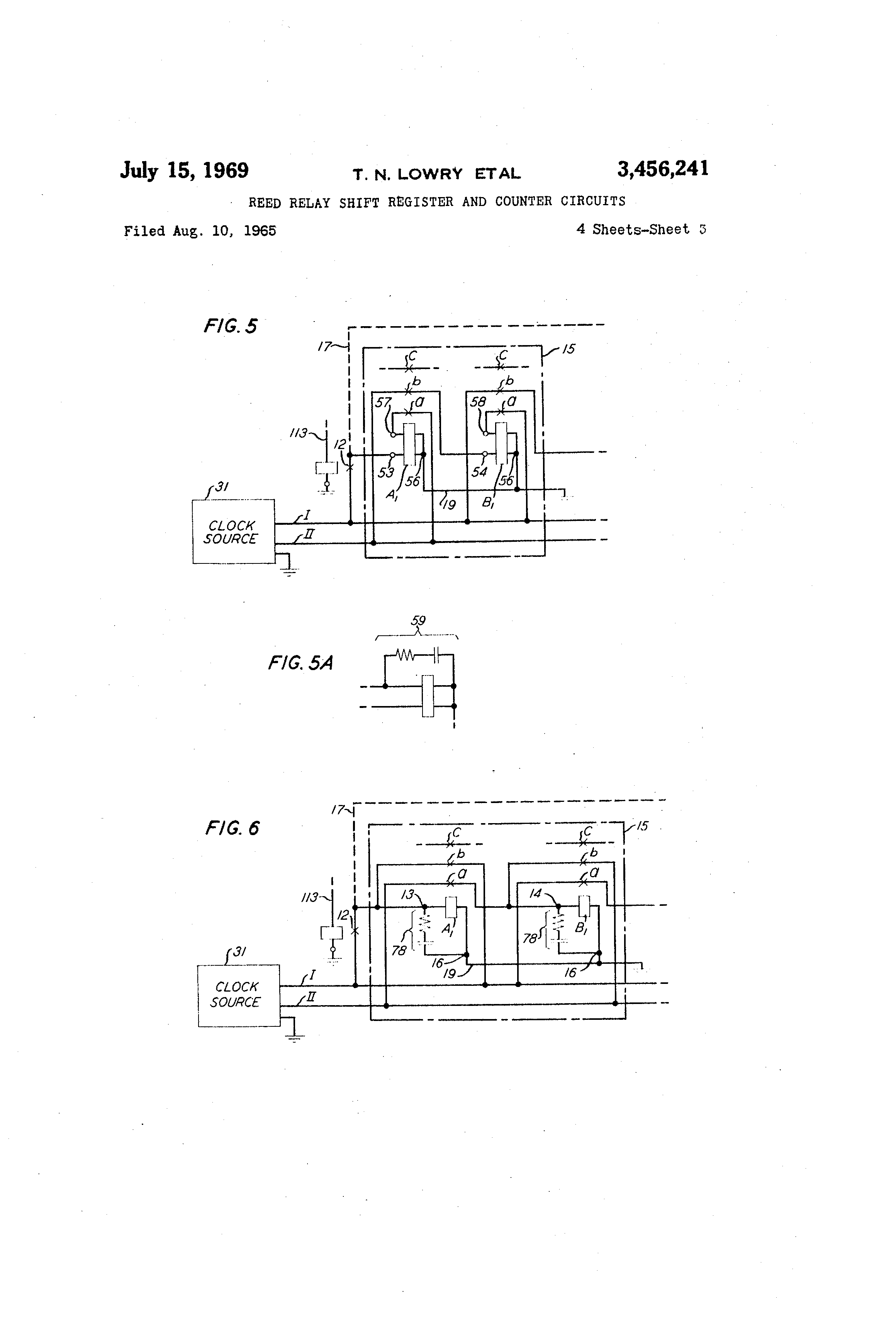 Patent US Reed Relay Shift Register And Counter Circuits - Two coil latching relay
