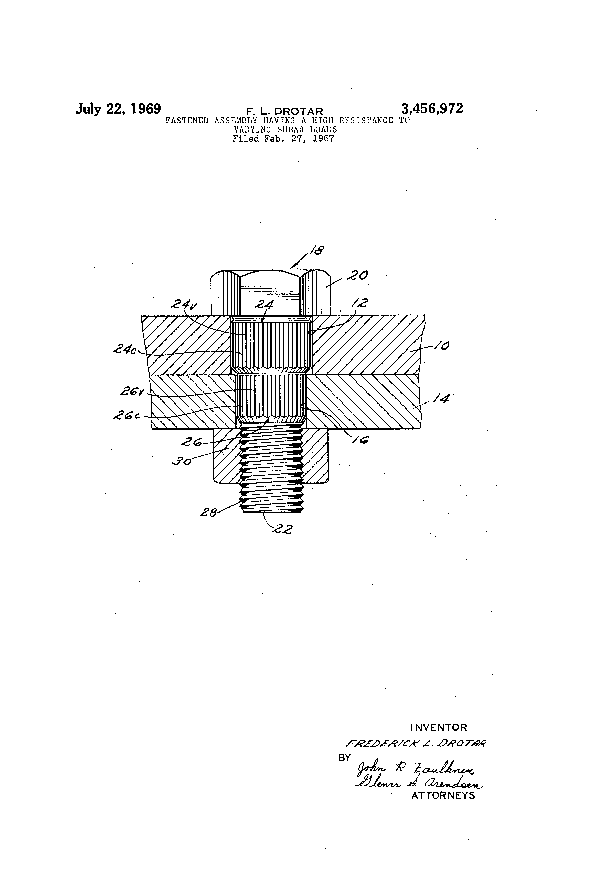 Patent Us3456972 Fastened Assembly Having A High