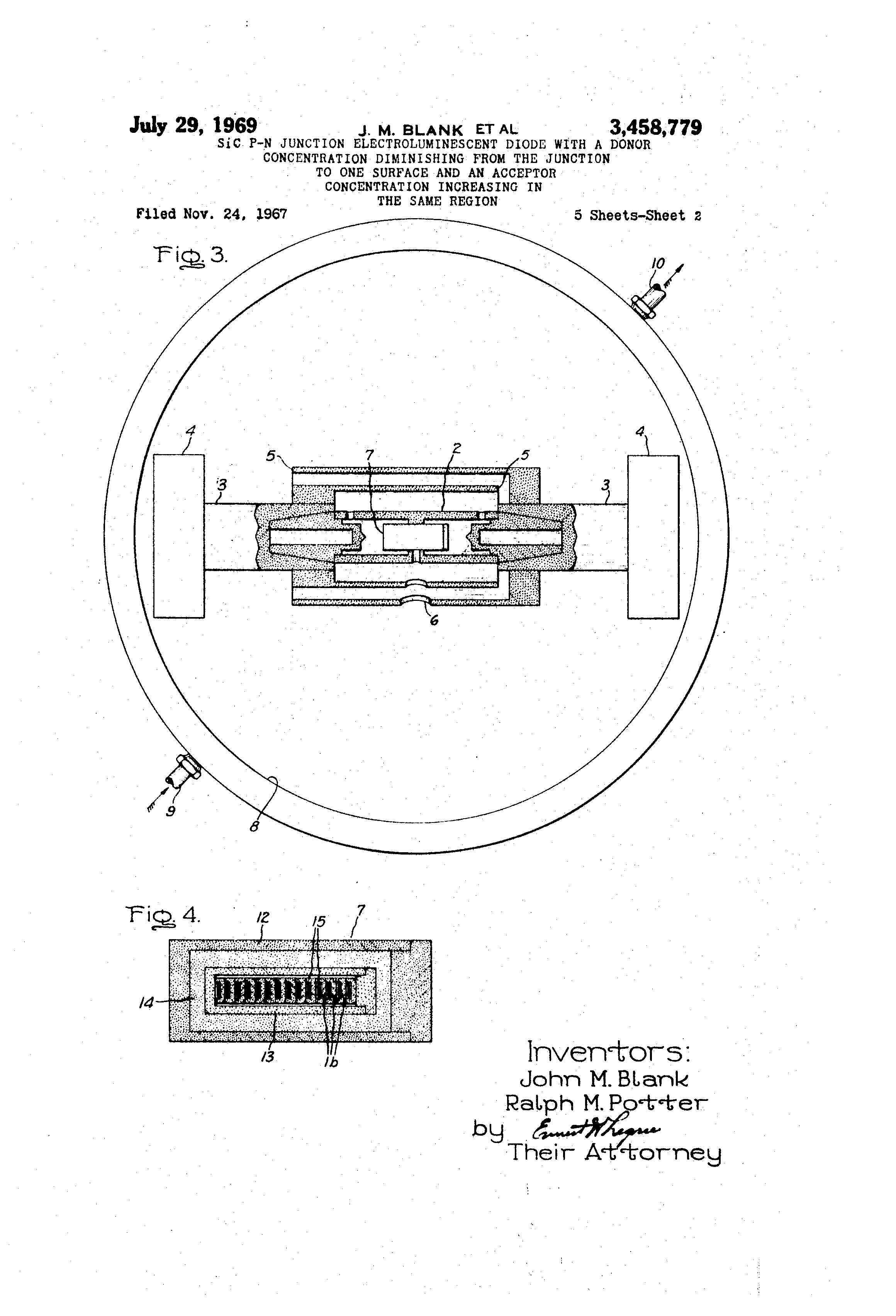 Patent Us3458779 Sic P N Junction Electroluminescent Diode With A Pn And Its Characteristics Drawing