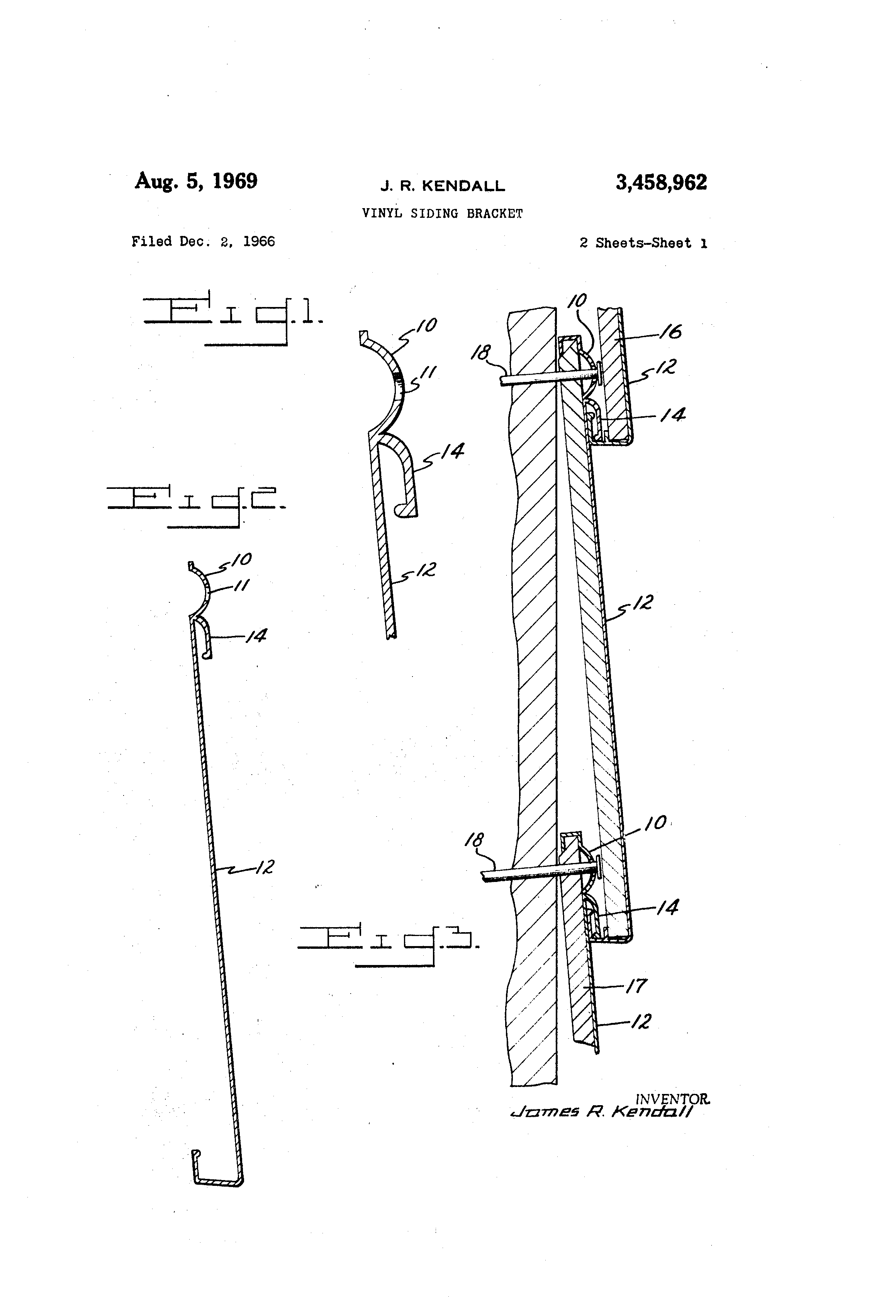 Patent Us3458962 Vinyl Siding Bracket Google Patents