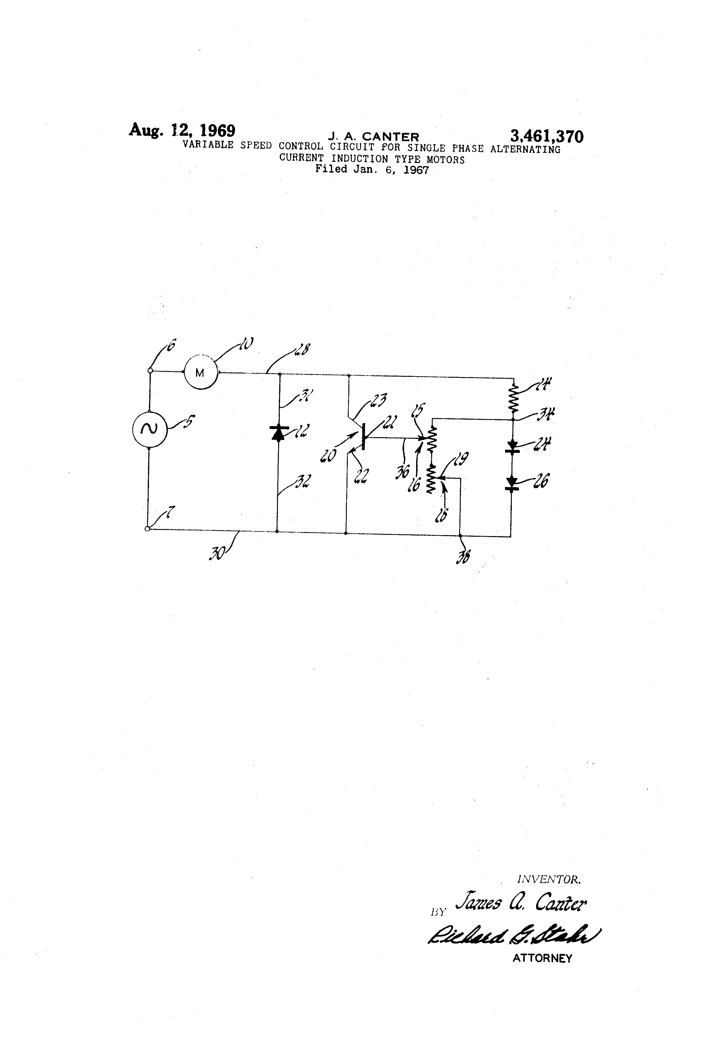Patent Us3461370 Variable Speed Control Circuit For Single Phase Startacmotorspeedcontrolcircuitpng Drawing