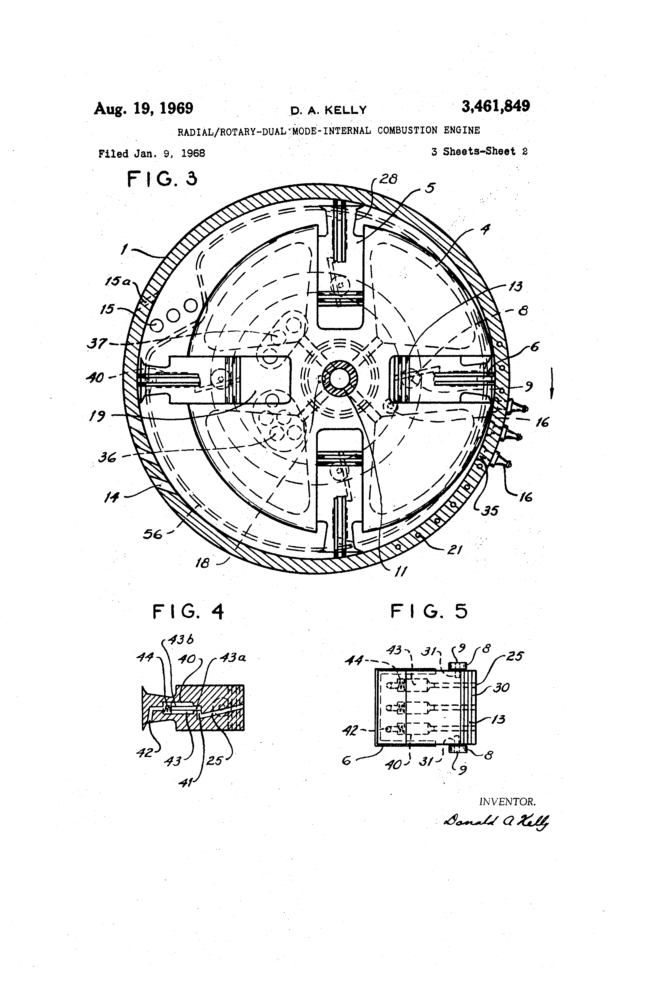 patent us3461849 radial rotary dual mode internal bustion Internal Combustion Engine Diesel patent drawing