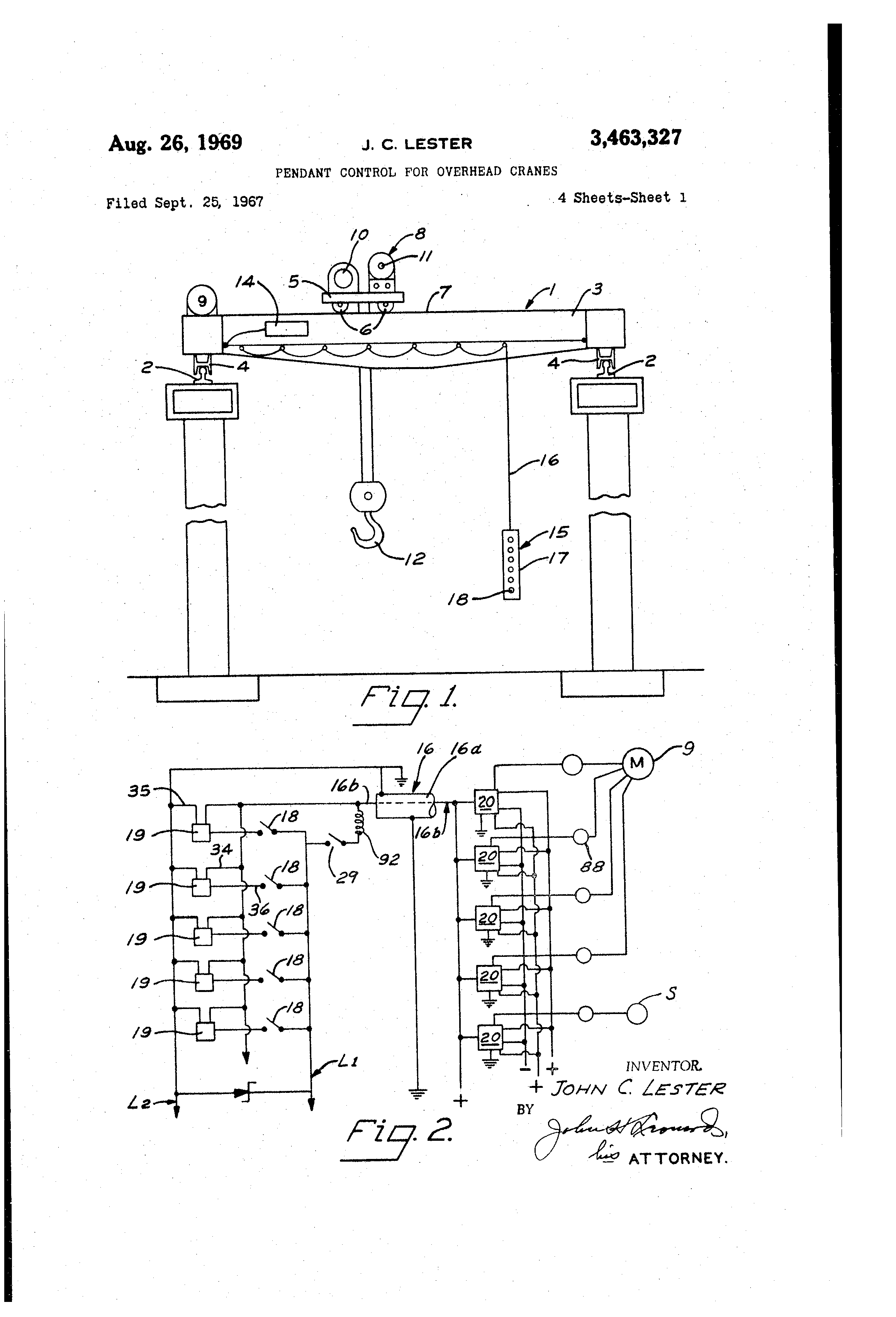 US3463327 0 patent us3463327 pendant control for overhead cranes google lester controls wiring diagrams at gsmportal.co