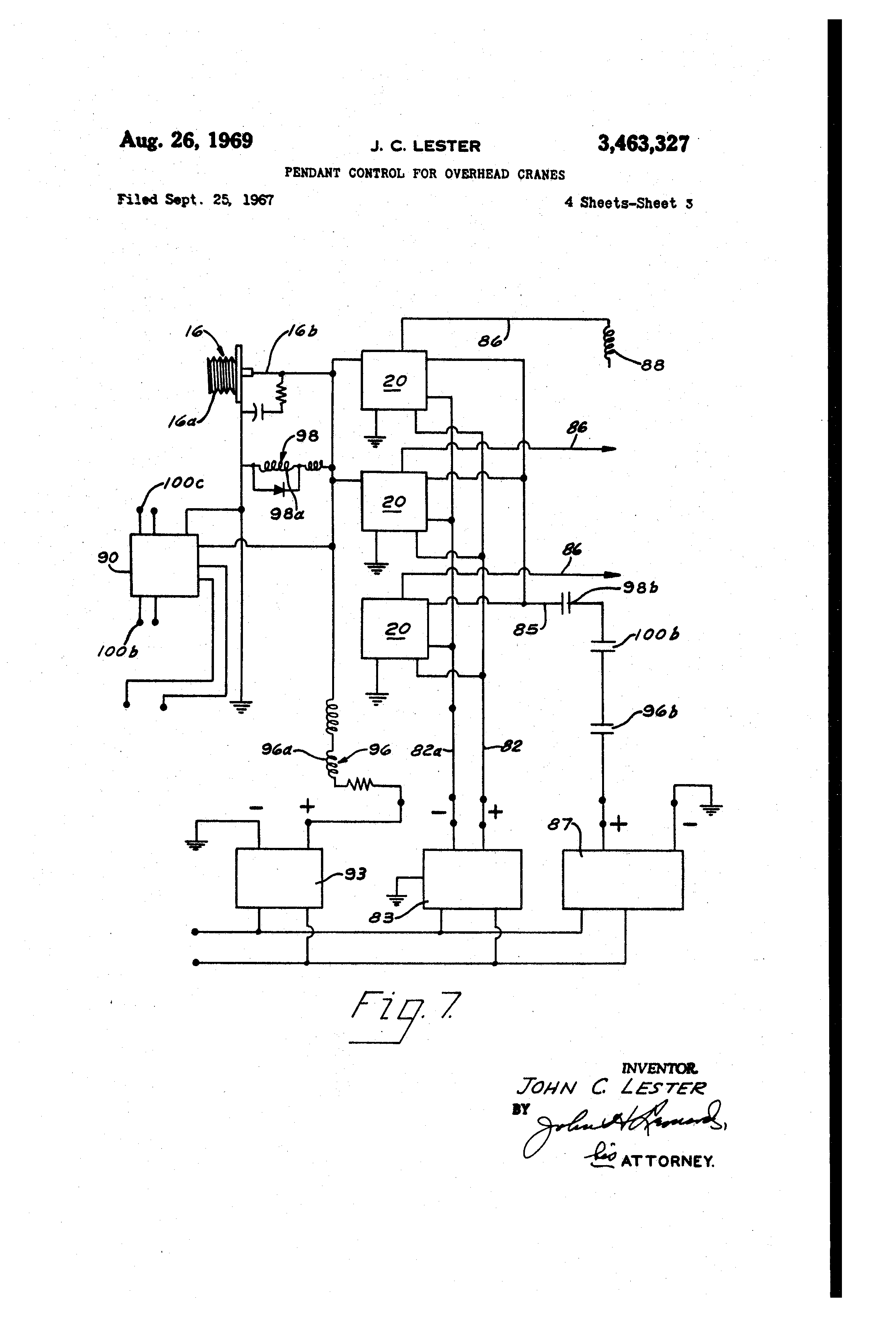 US3463327 2 patent us3463327 pendant control for overhead cranes google demag crane wiring diagram at reclaimingppi.co
