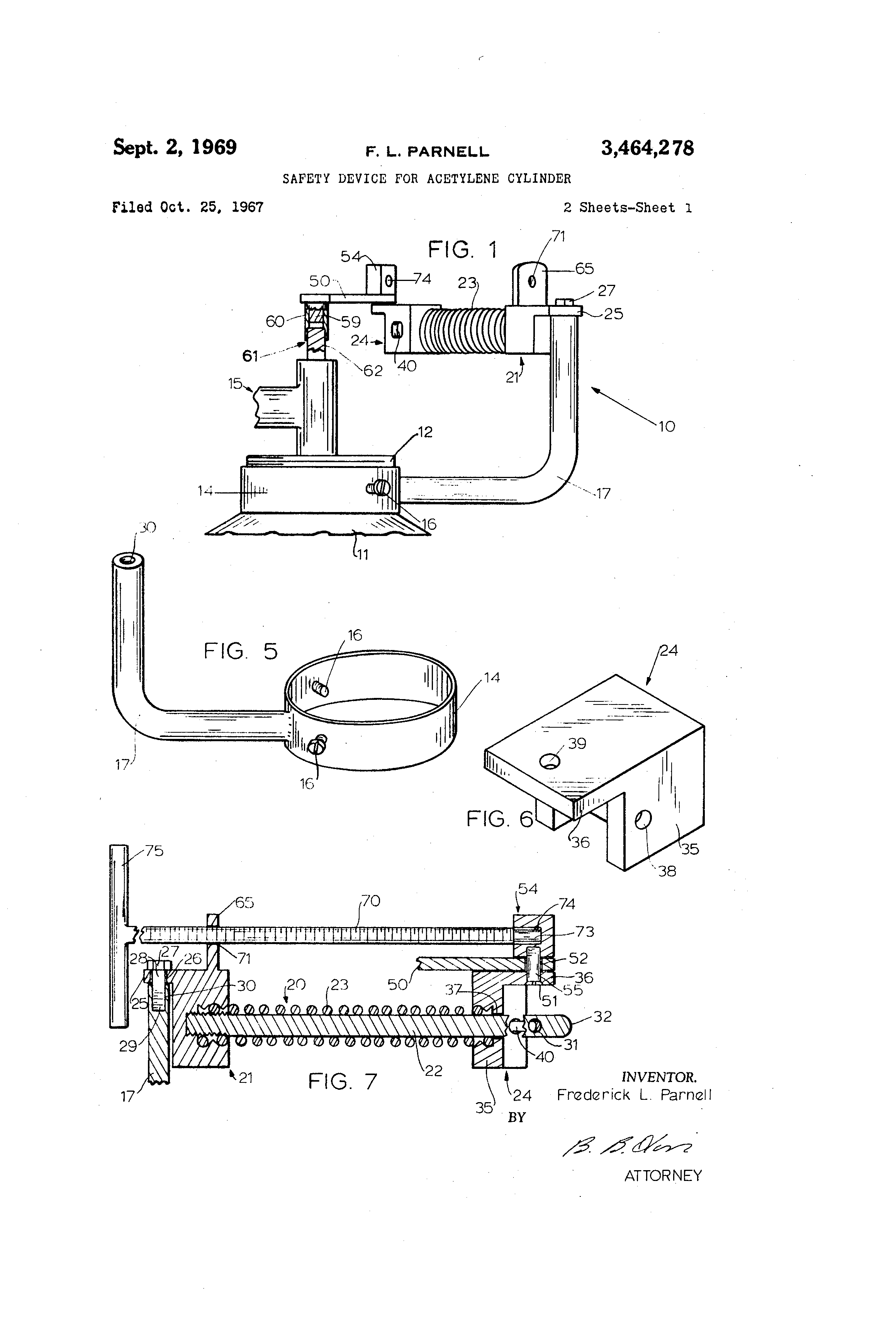Patent US3464278 - Safety device for acetylene cylinder