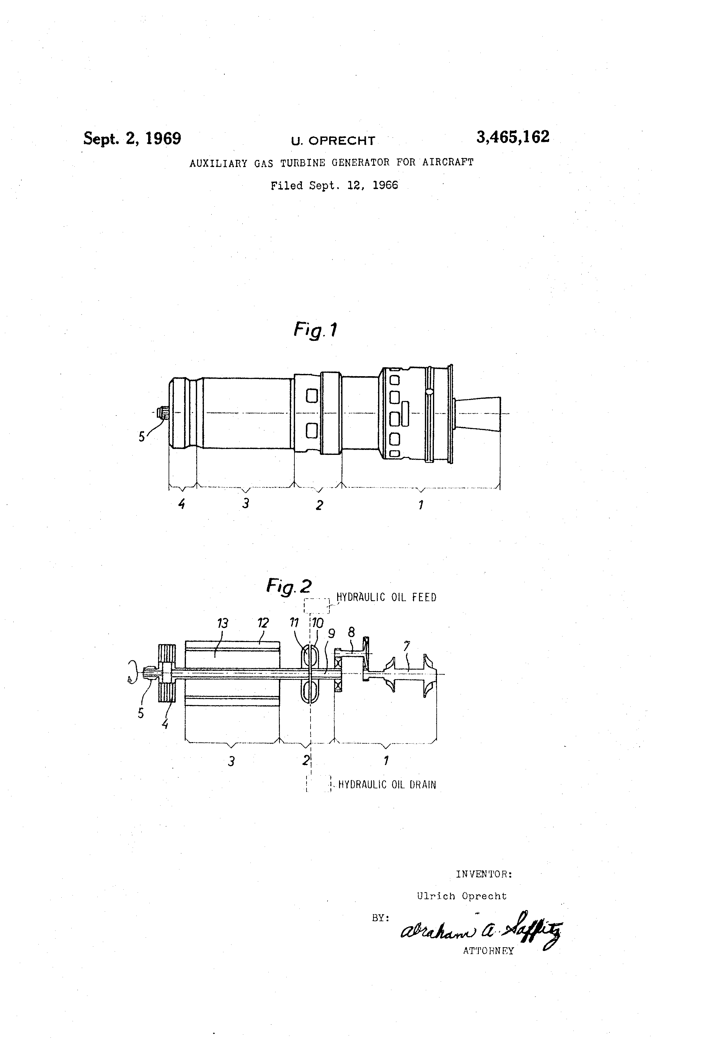 Patent US Auxiliary gas turbine generator for aircraft