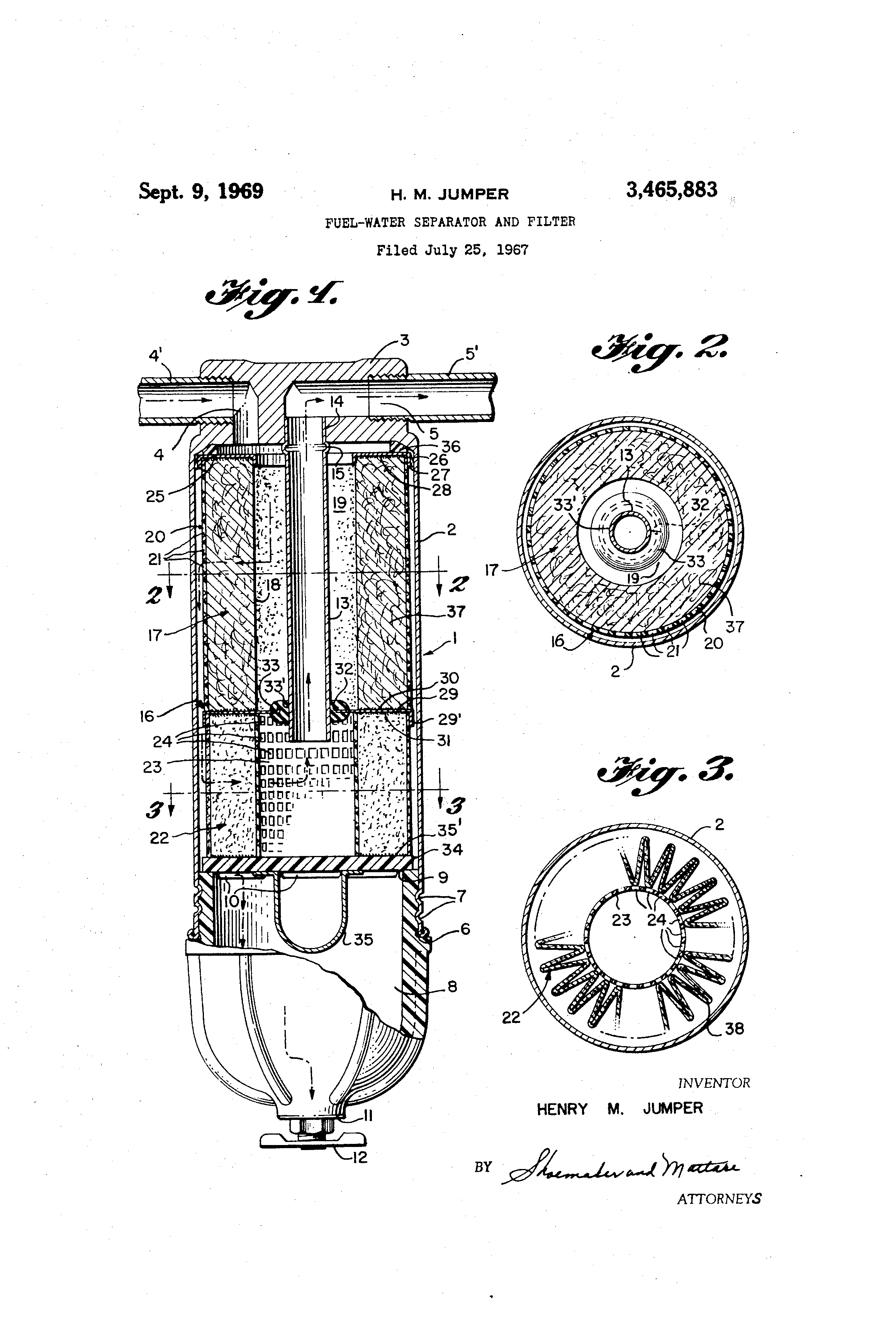 patent us3465883 - fuel-water separator and filter