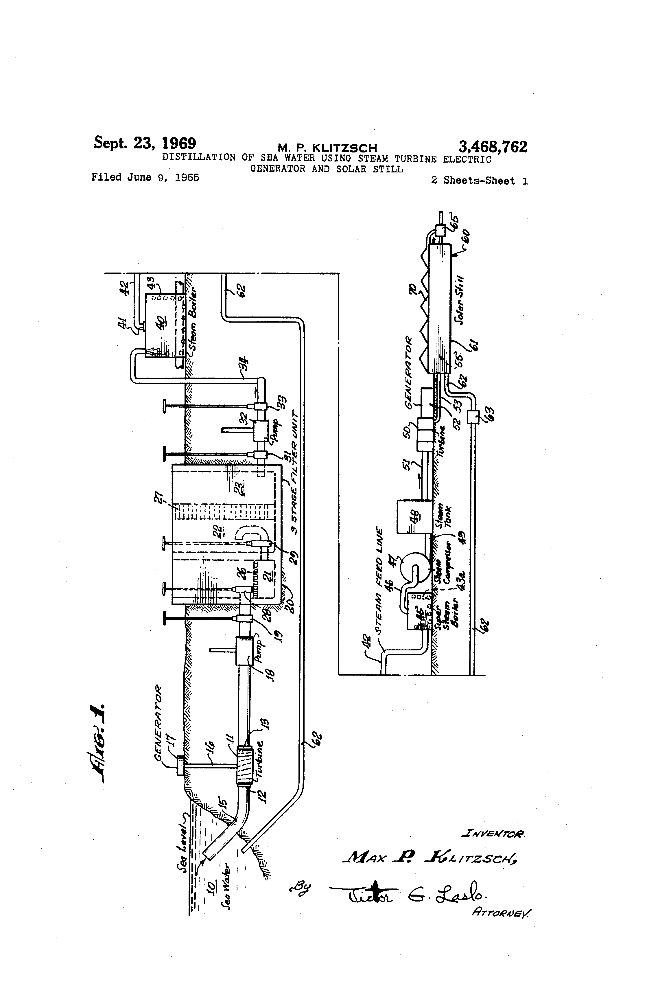 Patent US Distillation of sea water using steam turbine