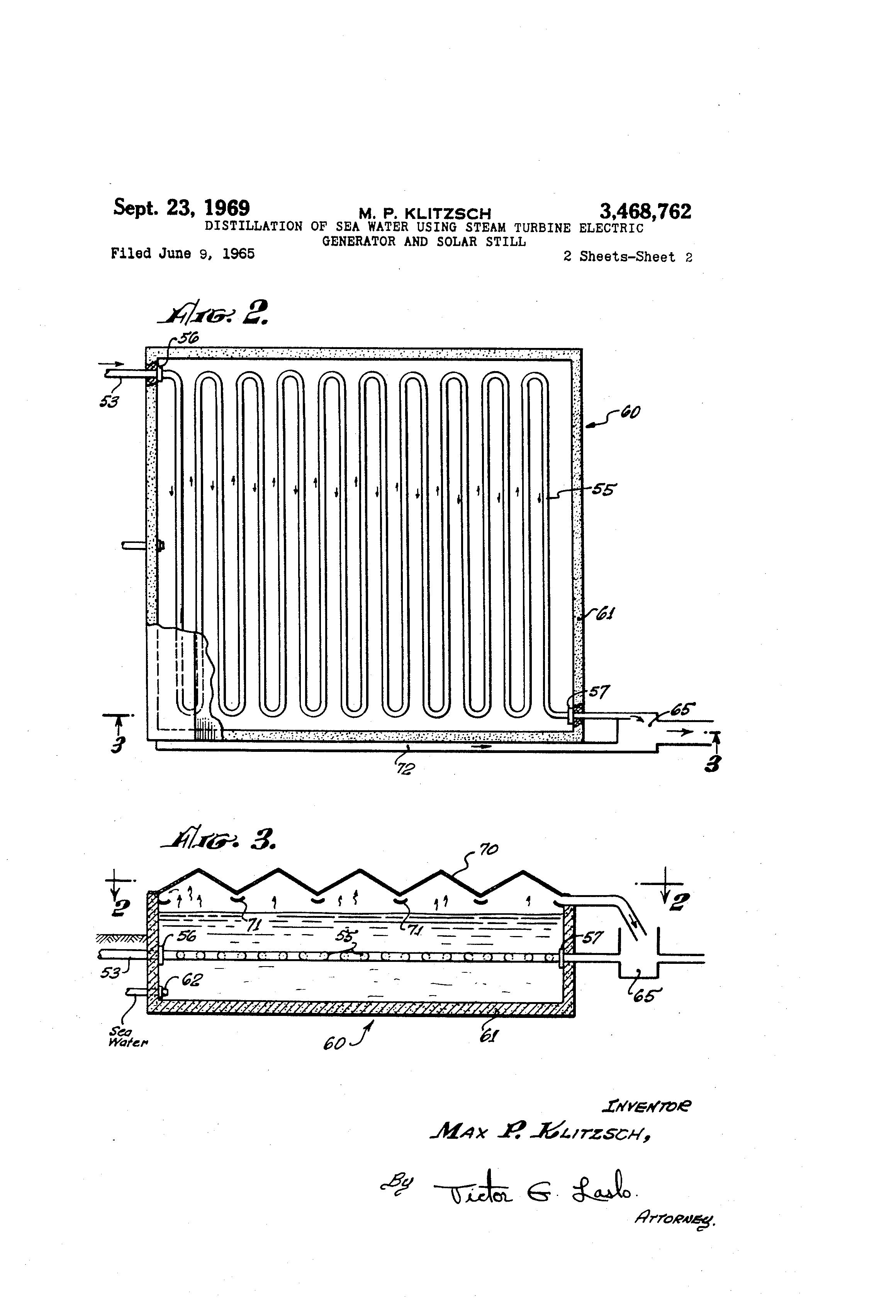 Patent US Distillation of sea water using steam turbine