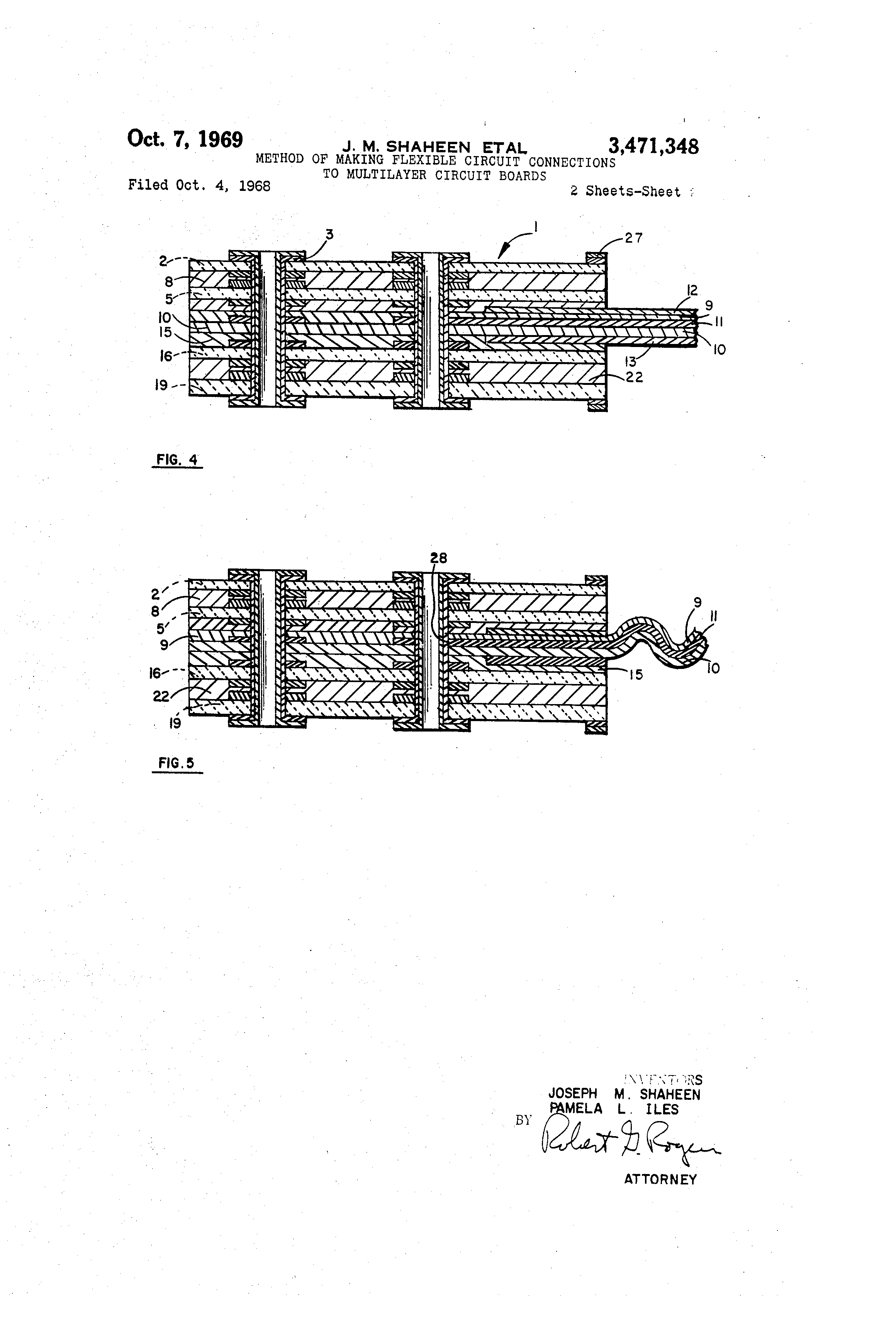 Patent Us3471348 Method Of Making Flexible Circuit Connections To Boards Popular Drawing