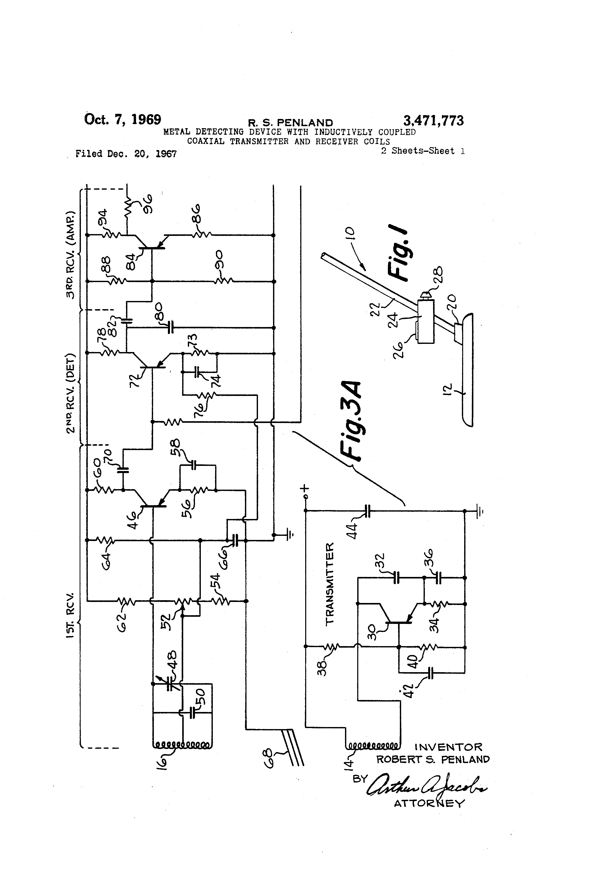 Patent Us3471773 Metal Detecting Device With Inductively