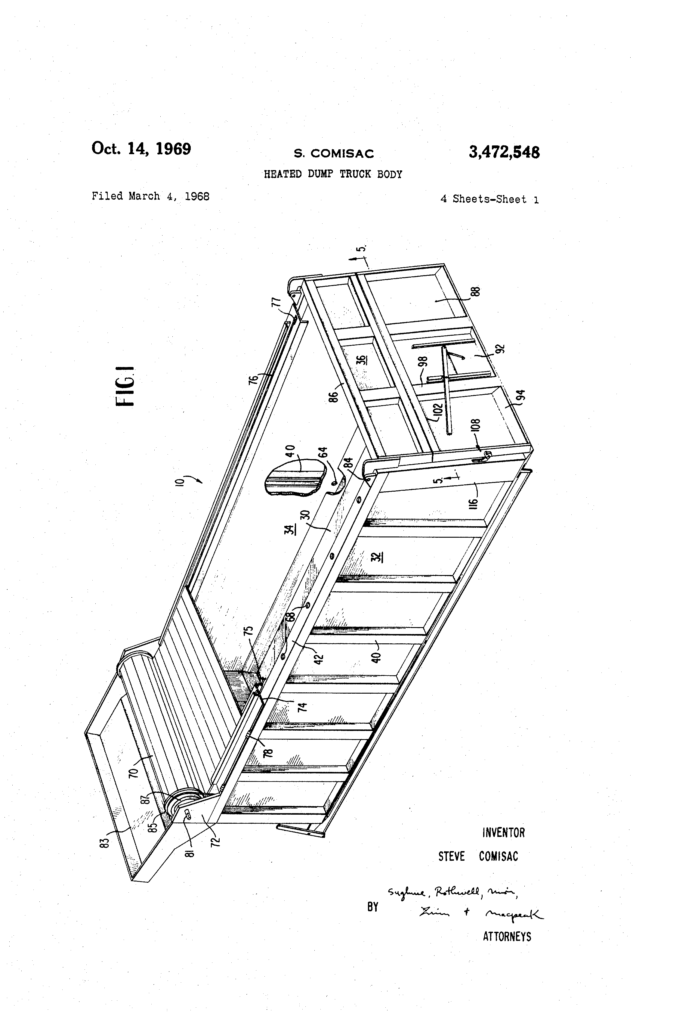 patent us3472548 - heated dump truck body - google patents