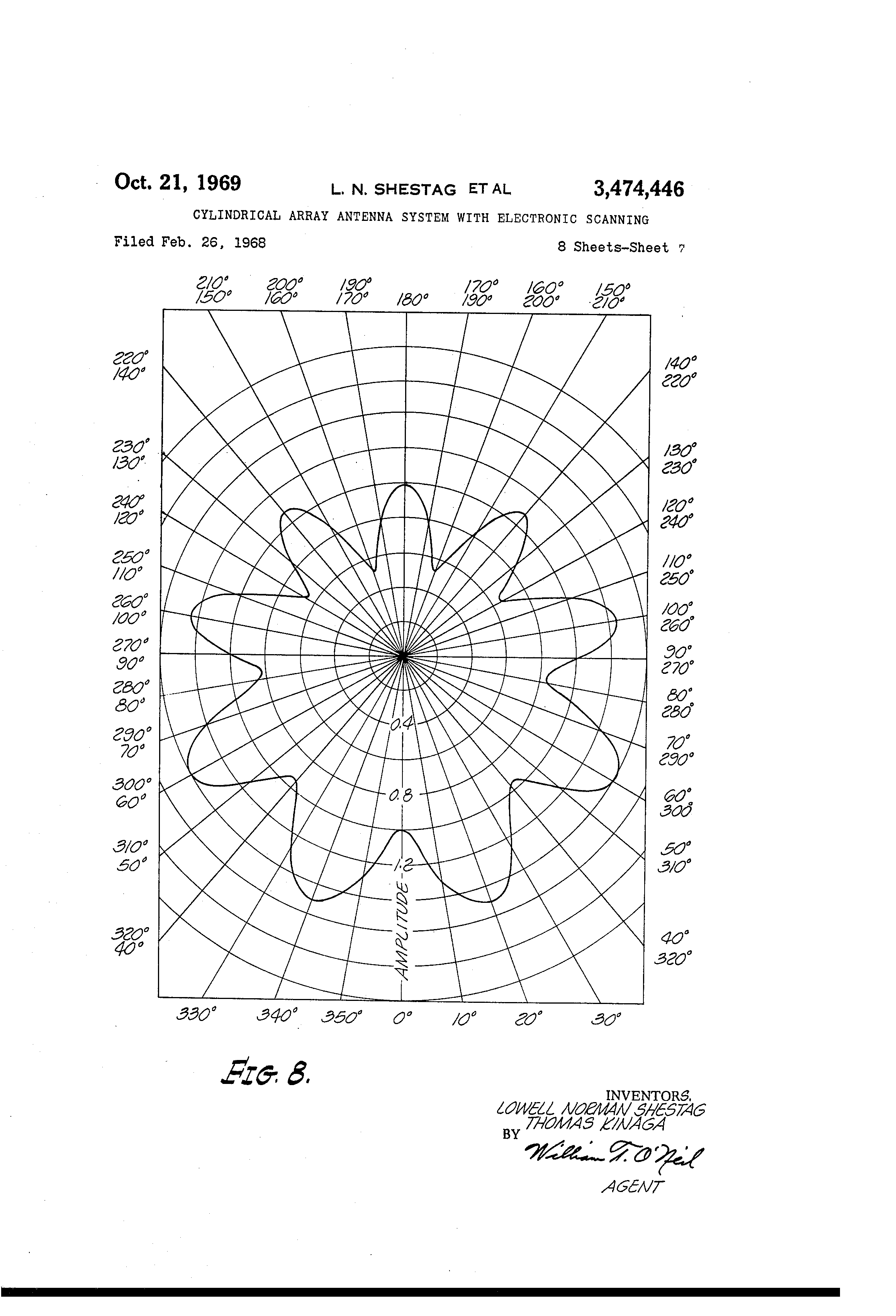 Patent Us3474446 Cylindrical Array Antenna System With