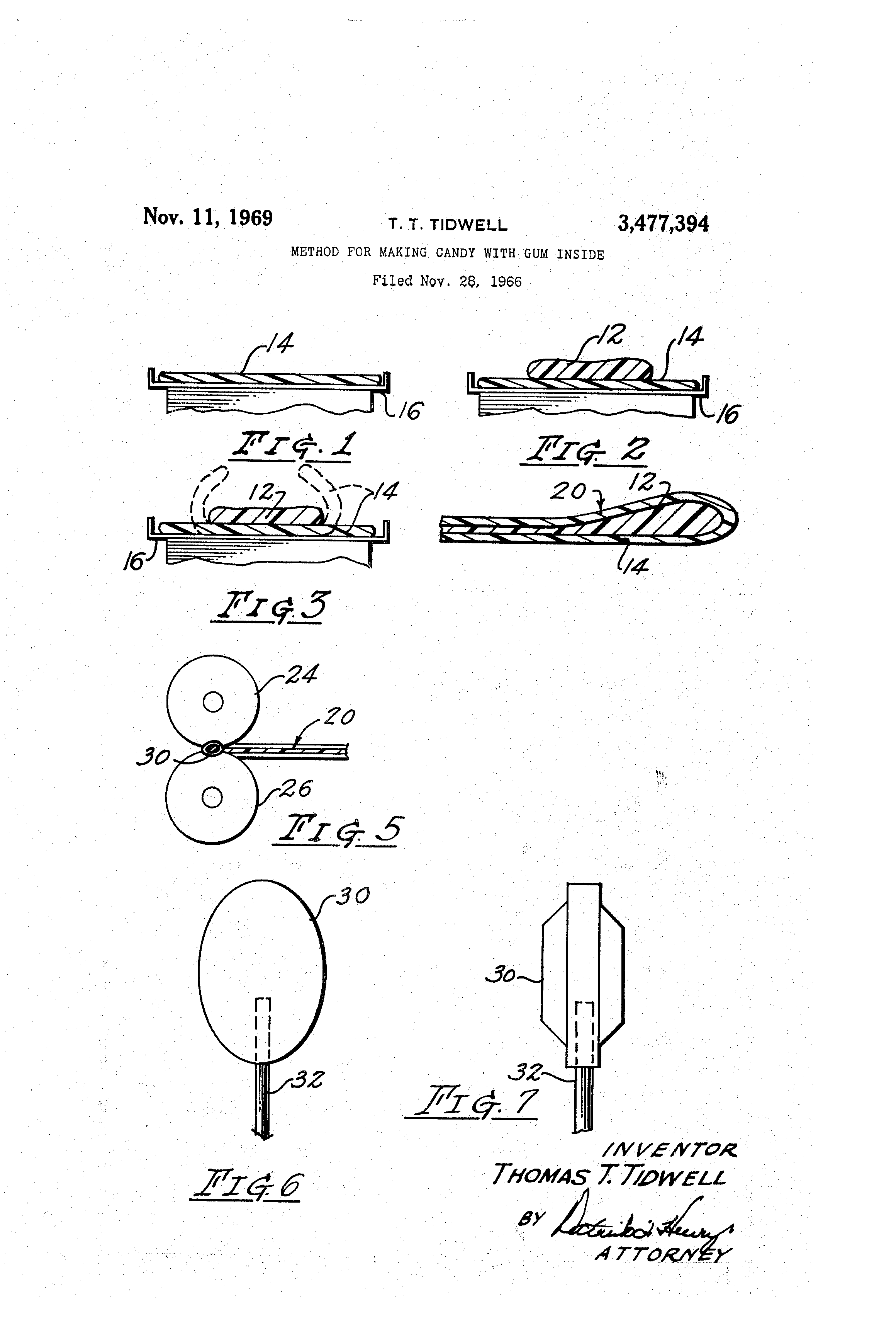 patent us3477394 method for making candy with gum inside