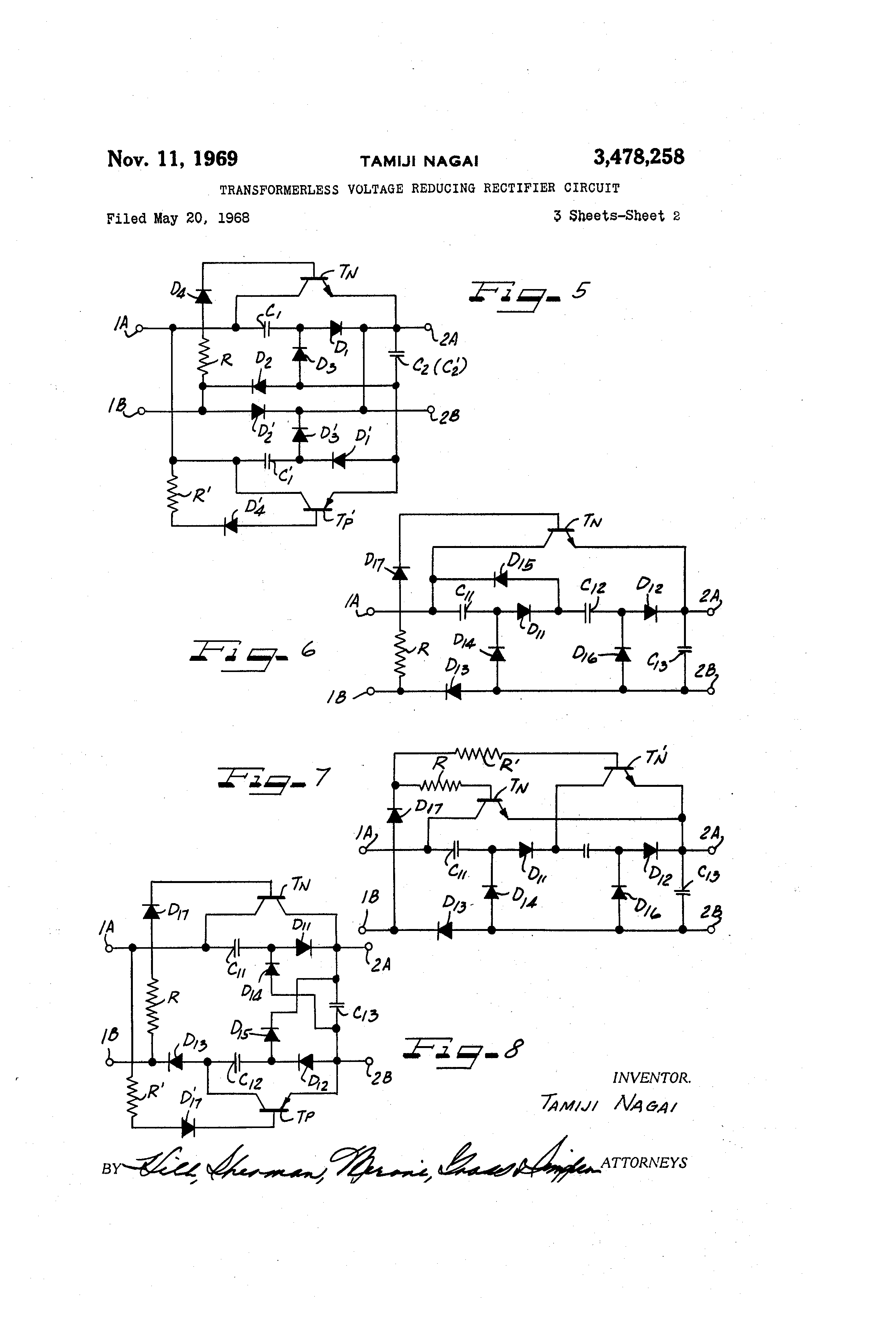 Patent Us3478258 Transformerless Voltage Reducing Rectifier Circuit Drawing