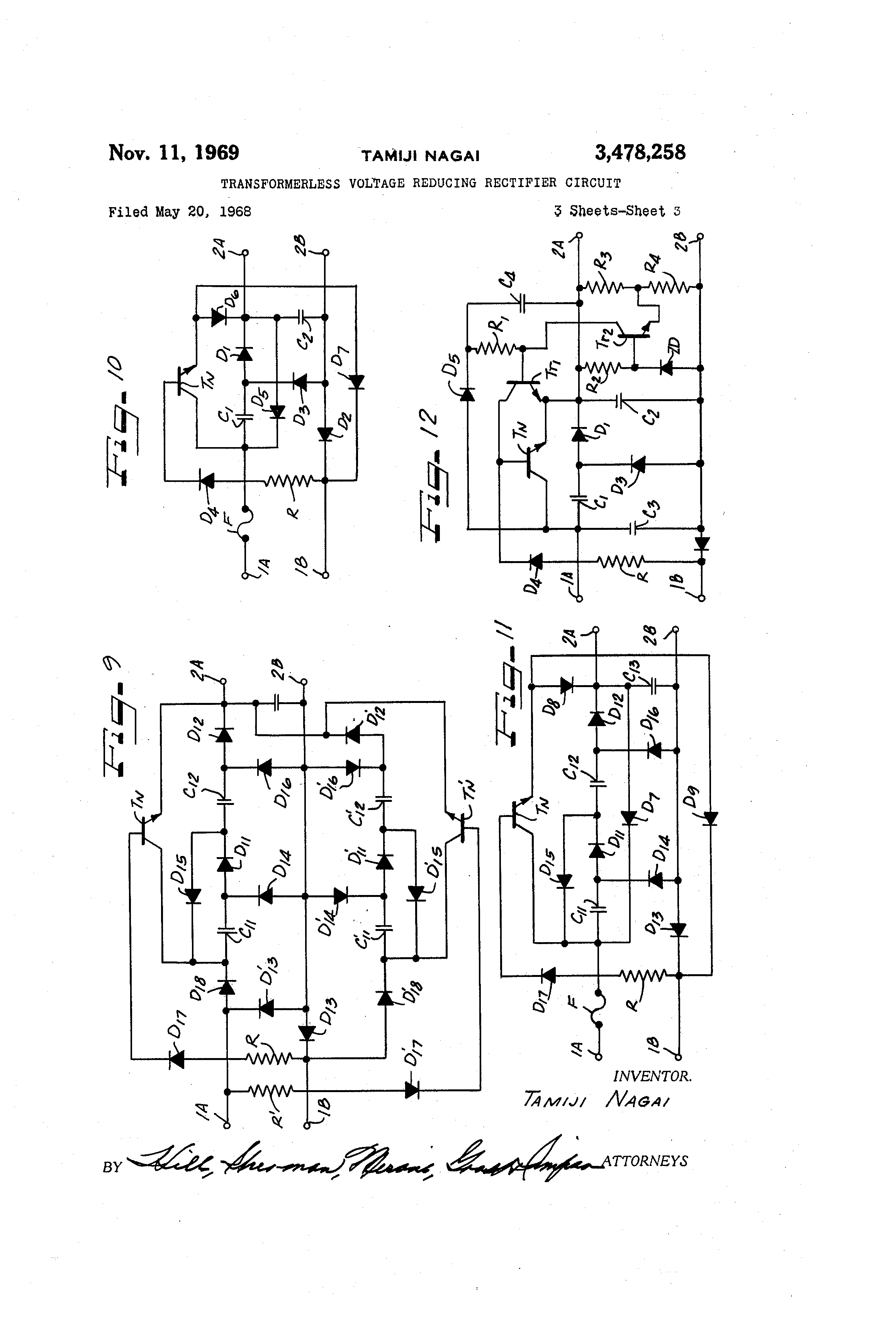 Patent Us3478258 Transformerless Voltage Reducing Rectifier Circuits Dc Power Supply Ac Forward To Drawing