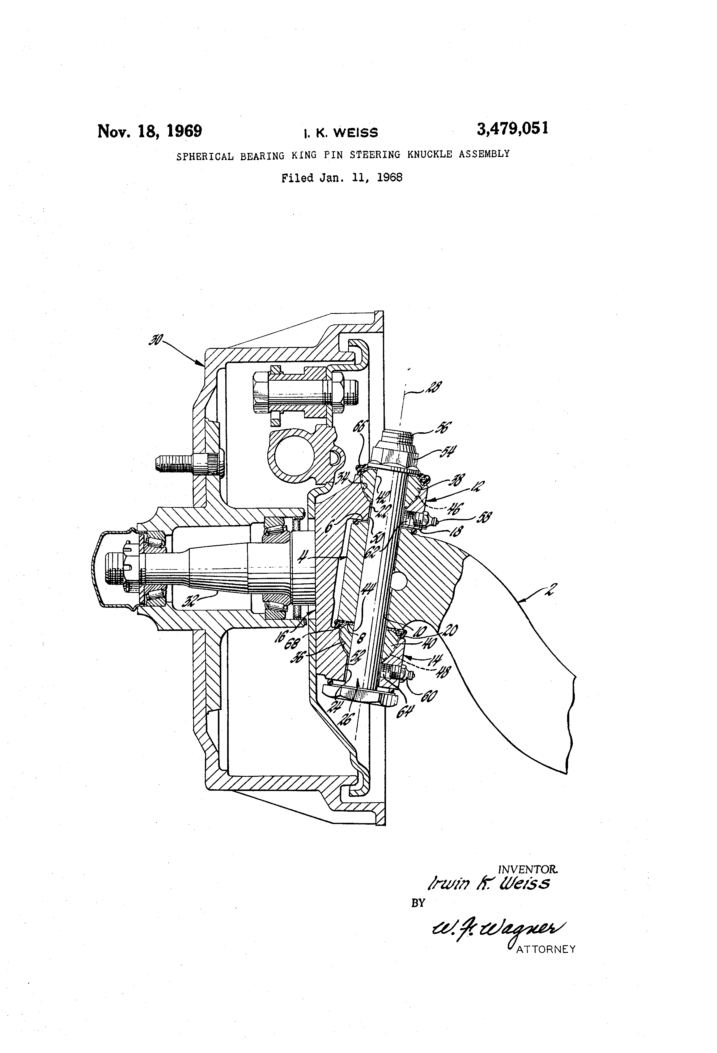 Patent Us3479051 Spherical Bearing King Pin Steering Knuckle 2003 Ford Ranger Schematics Drawing