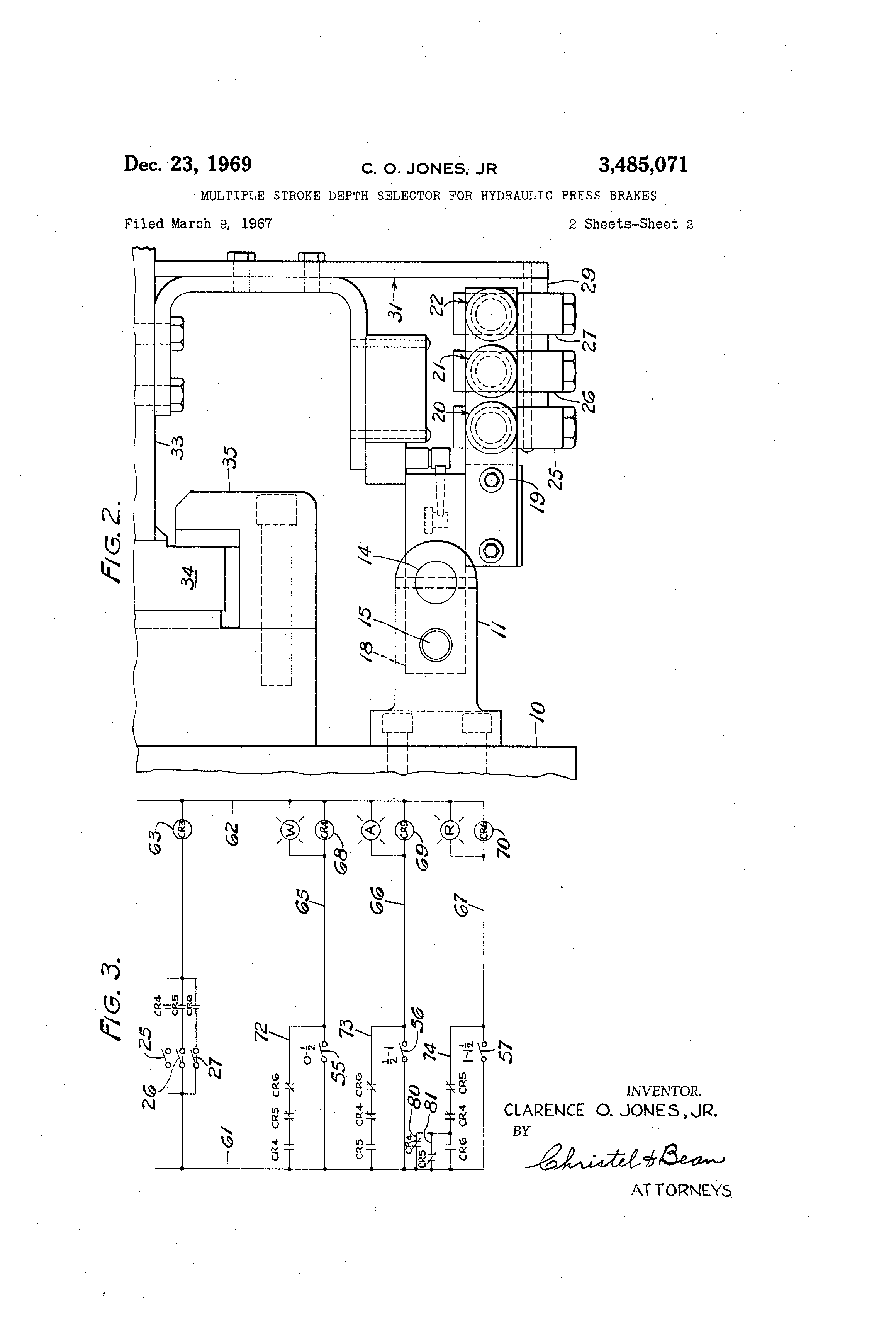 Patent Us3485071 - Multiple Stroke Depth Selector For Hydraulic Press Brakes