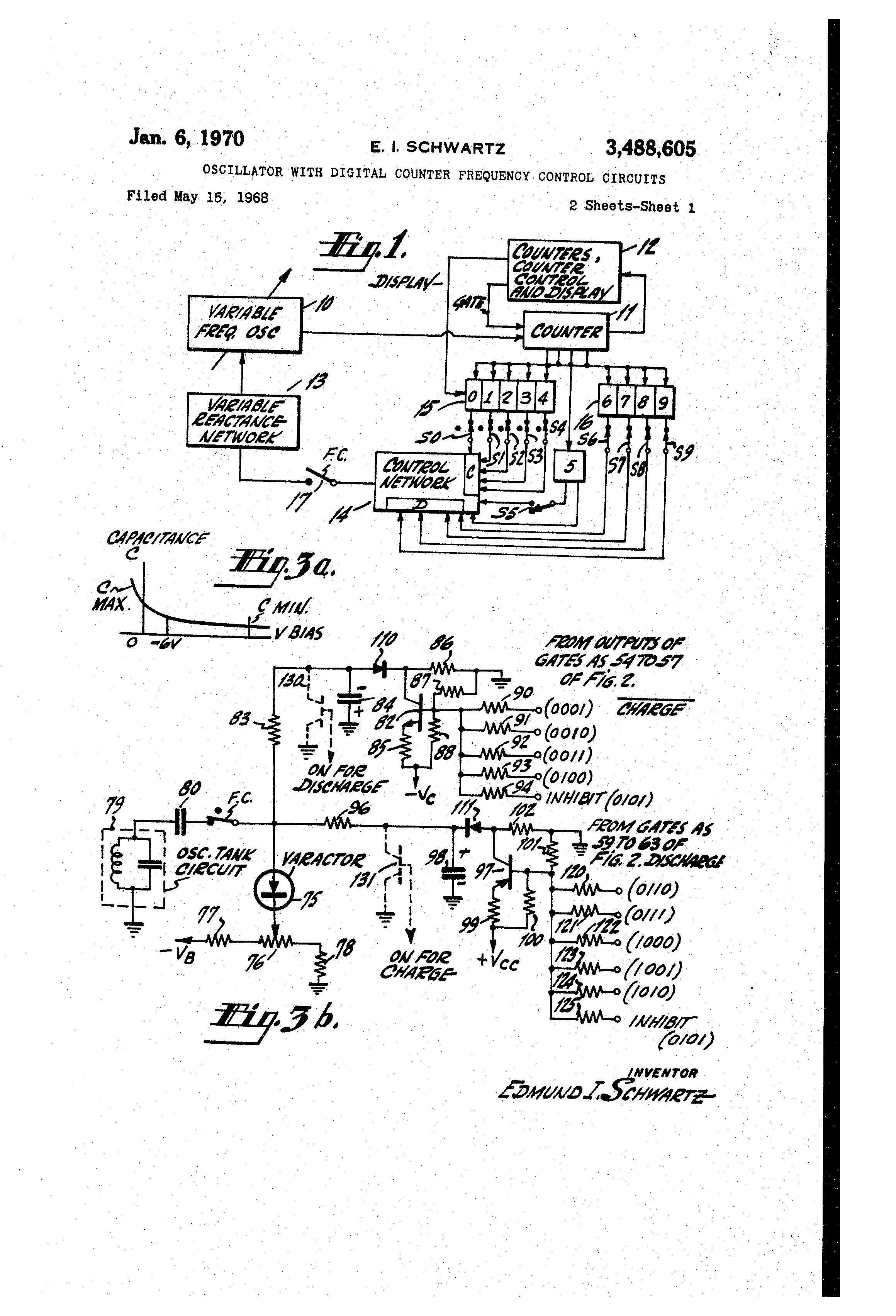 Patent Us3488605 Oscillator With Digital Counter Frequency Control Circuit Besides Crystal On Dc Generator Schematic Drawing