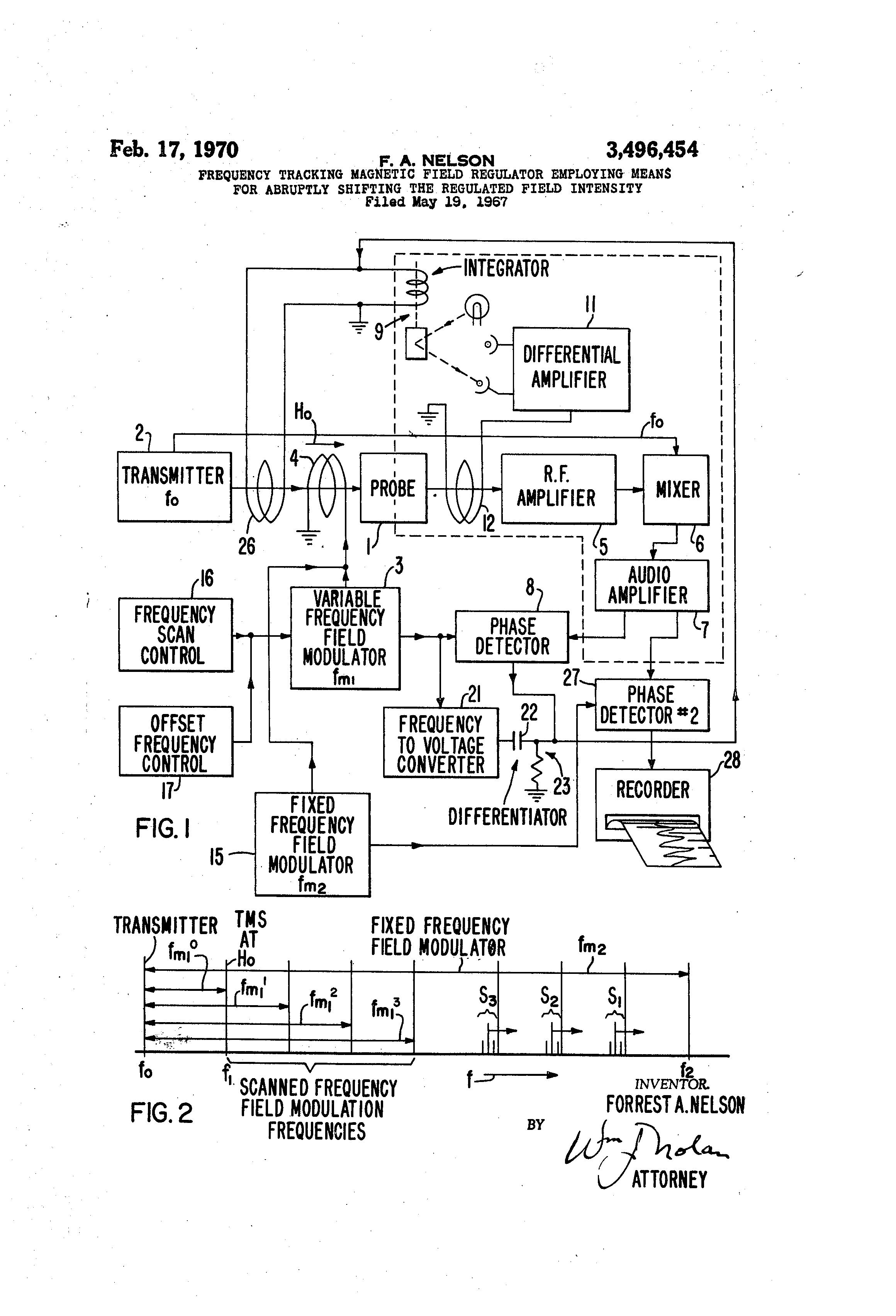 Patent Us3496454 Frequency Tracking Magnetic Field Regulator Differentiator Circuit Besides Integrator Lifier Likewise Low Drawing