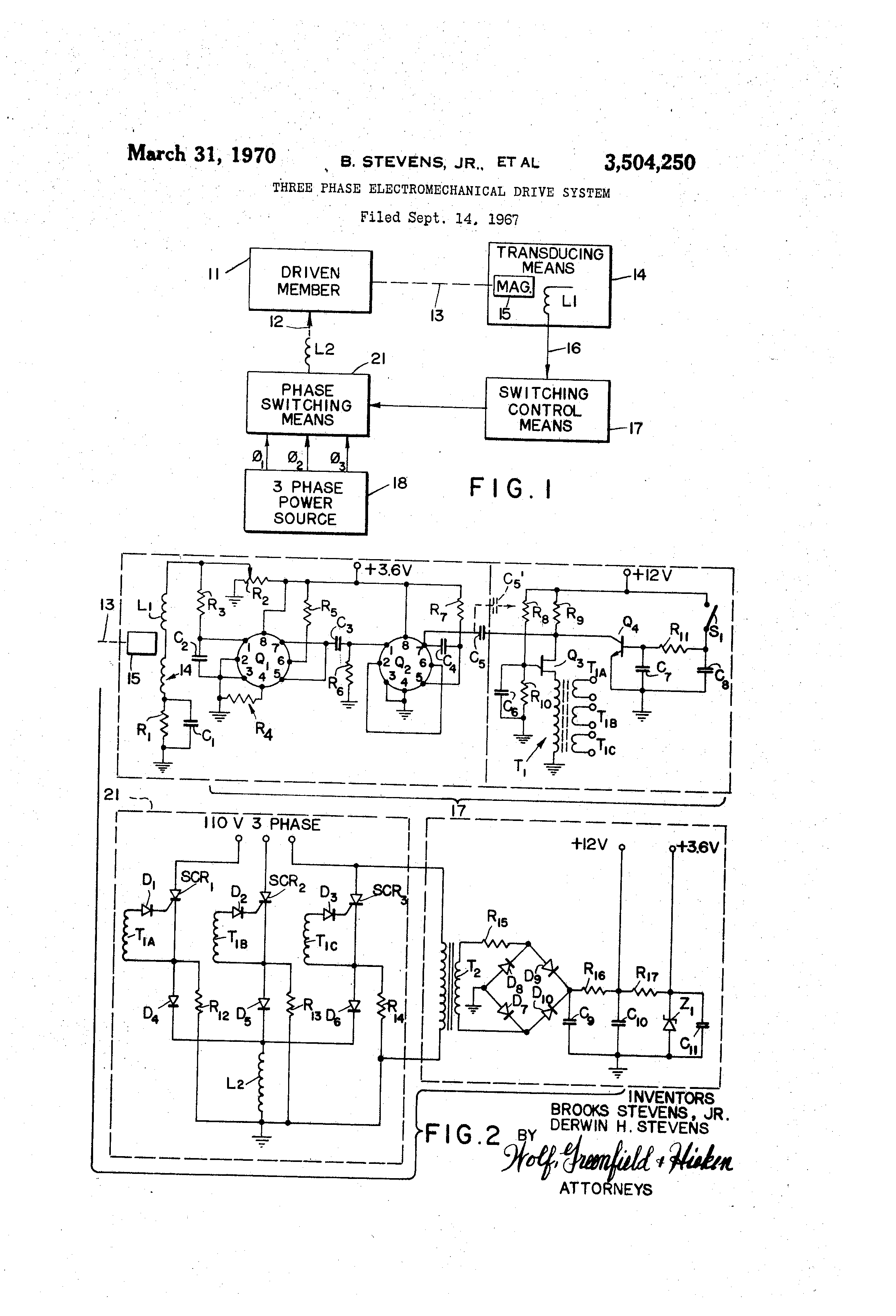 Patent Us3504250 Three Phase Electromechanical Drive System This Is A Diagram Of Basic 6v Converted To 12v Using Zenor Google Patentsuche