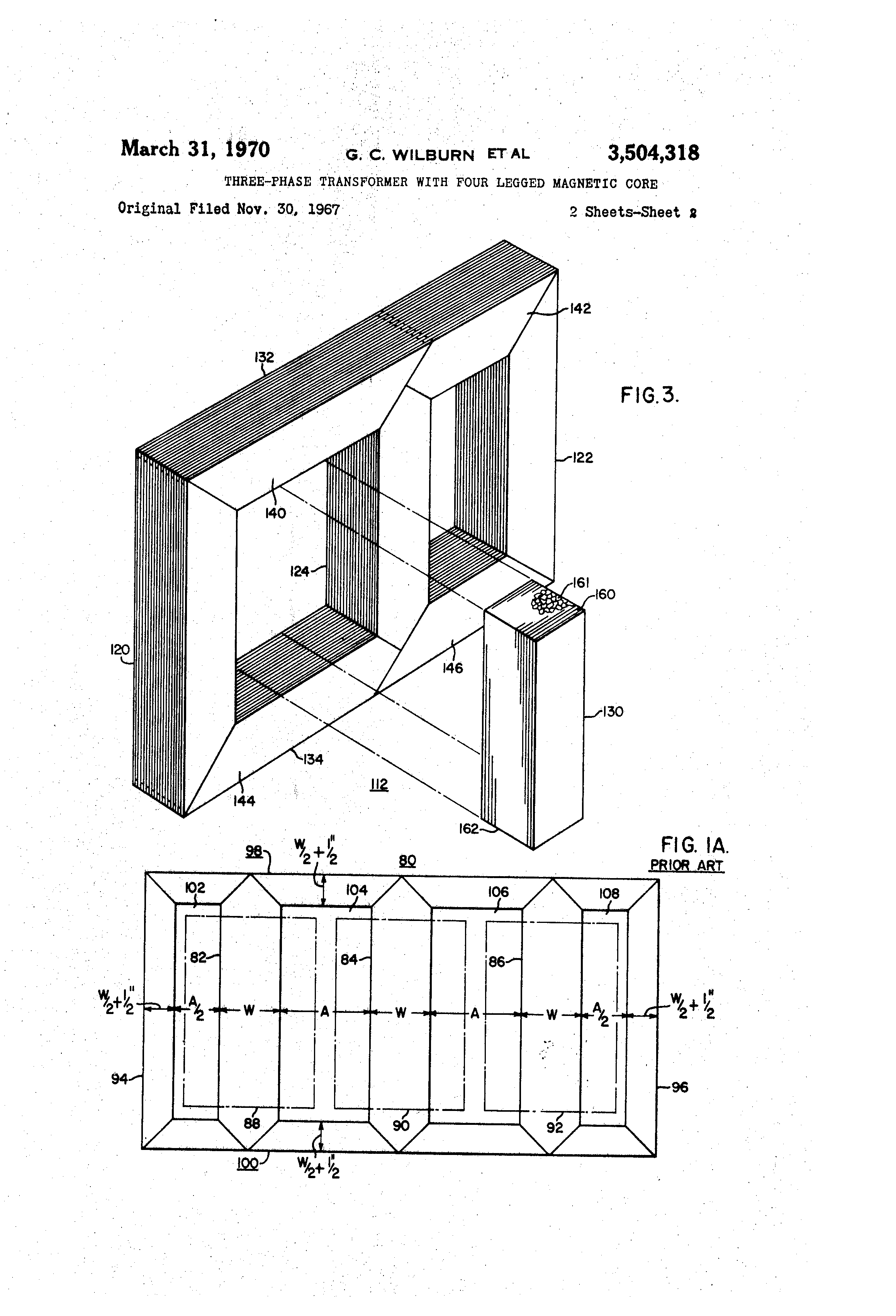 Patent Us3504318 Three Phase Transformer With Four