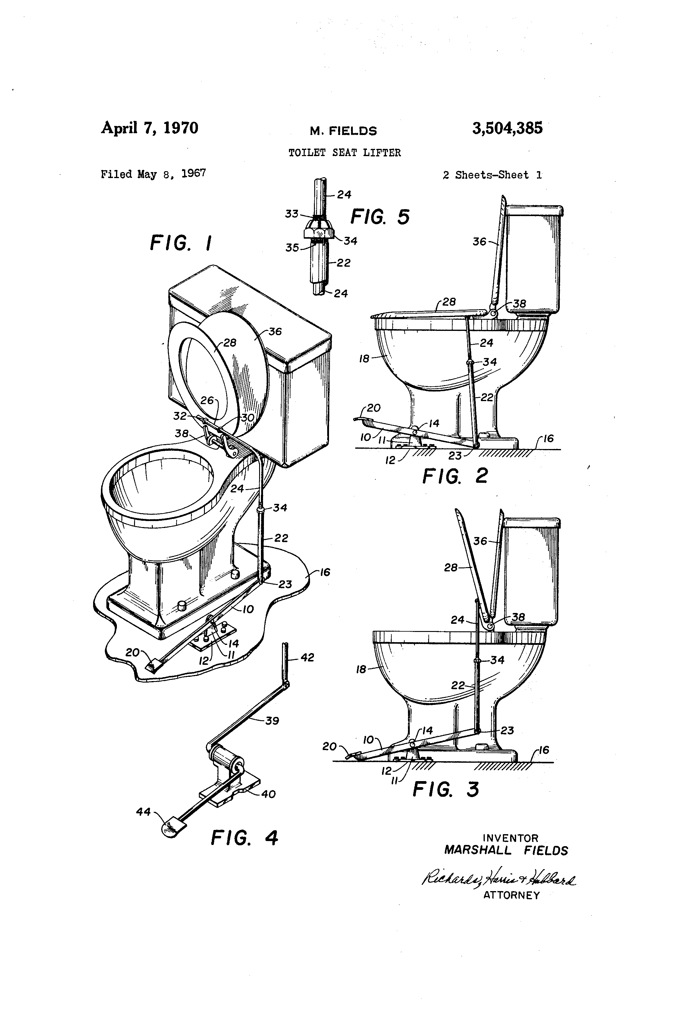 Patent Us3504385 Toilet Seat Lifter Google Patents