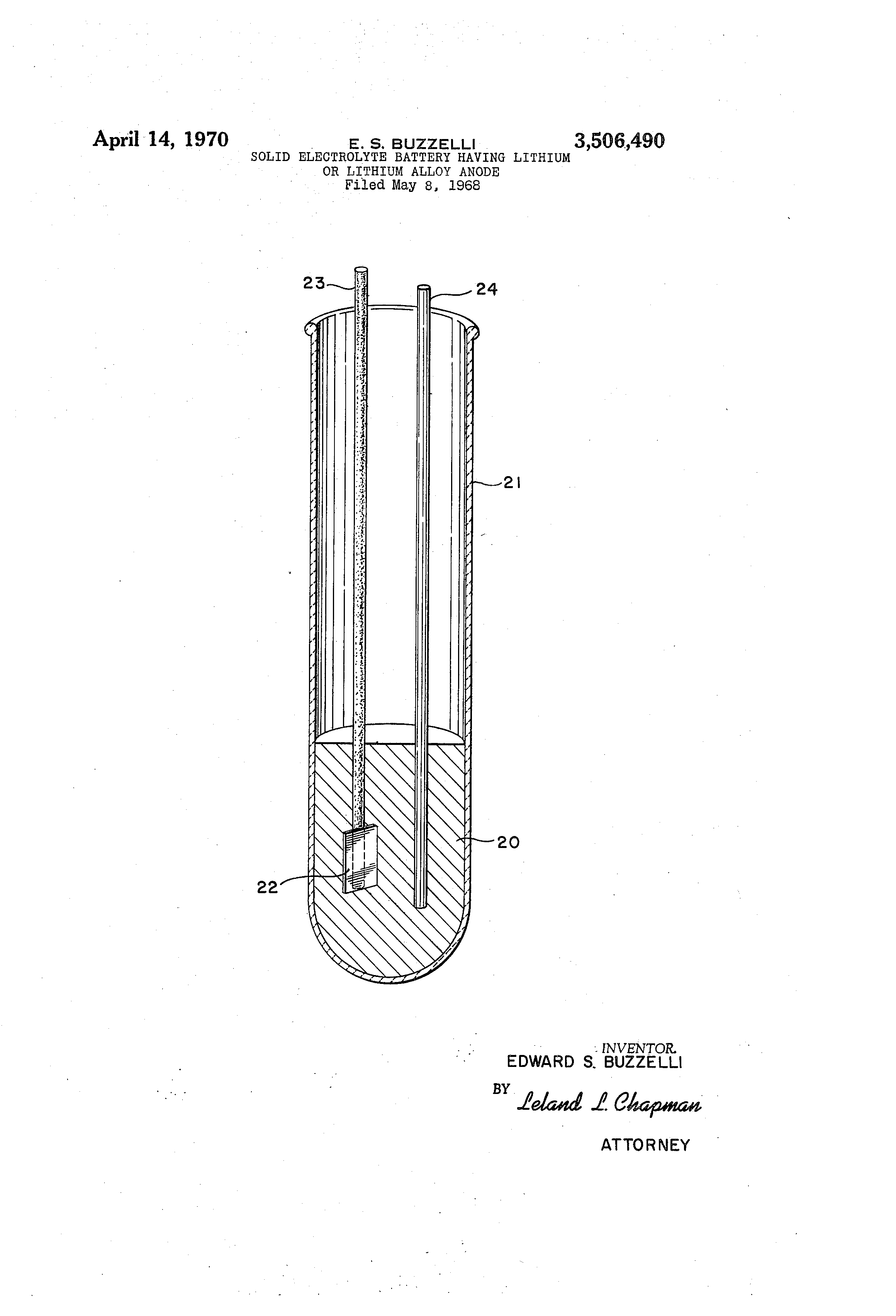 Patent US3506490 - Solid electrolyte battery having lithium