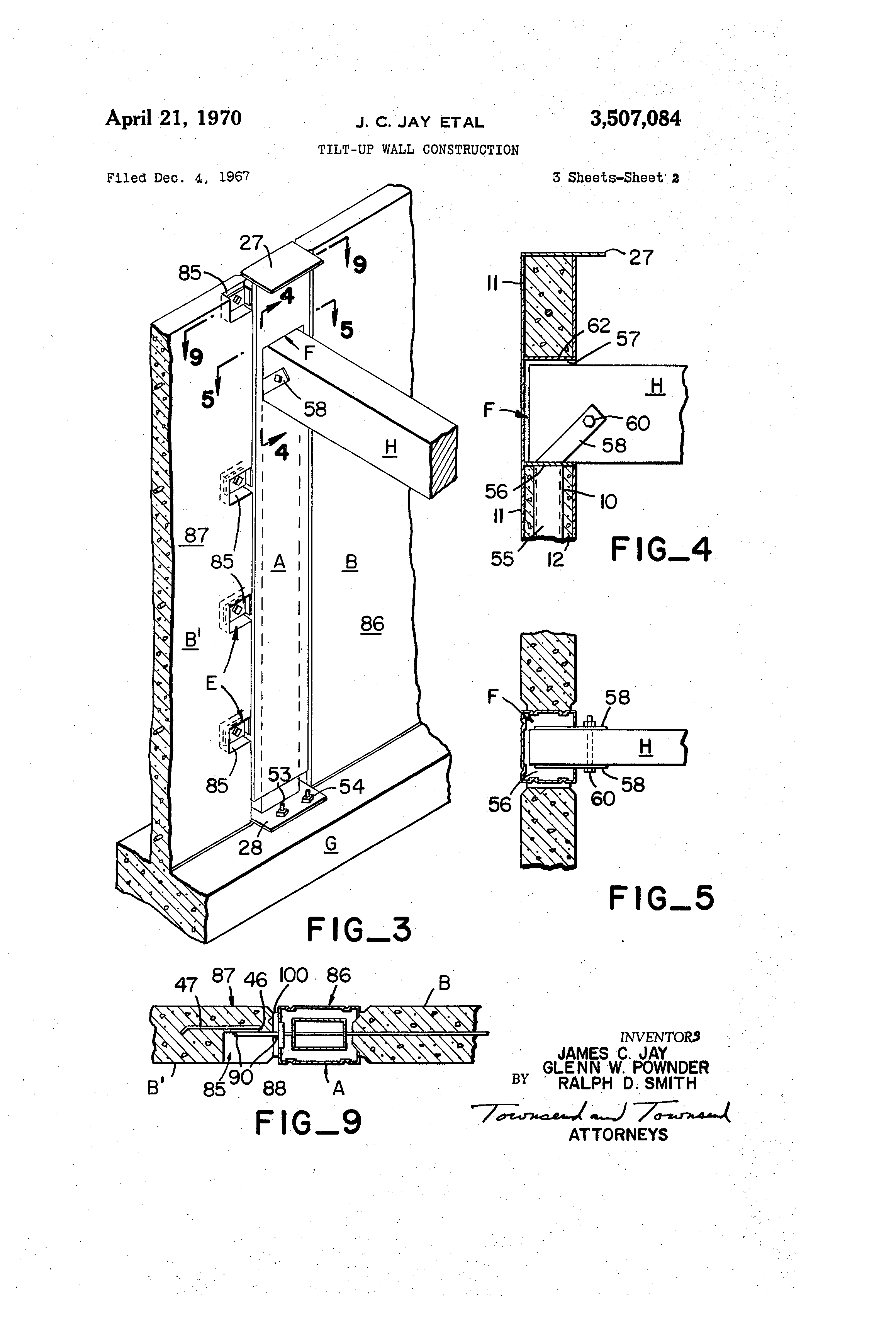 patent us3507084 - tilt-up wall construction