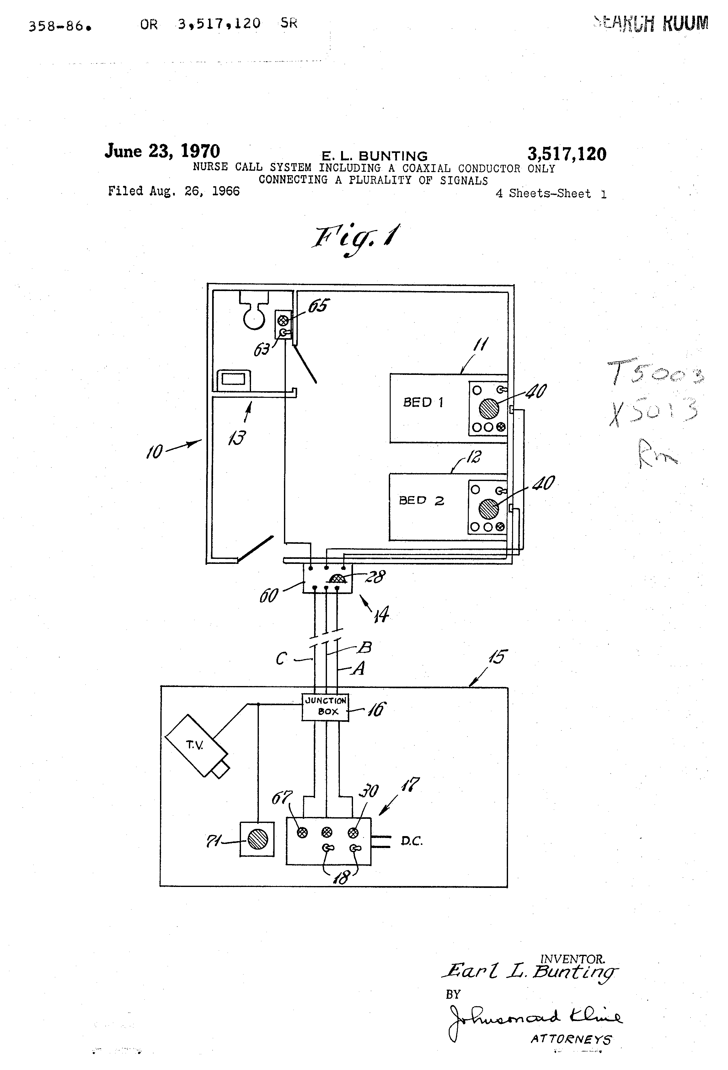 US3517120 0 patent us3517120 nurse call system including a coaxial conductor gamewell master box wire diagram at alyssarenee.co