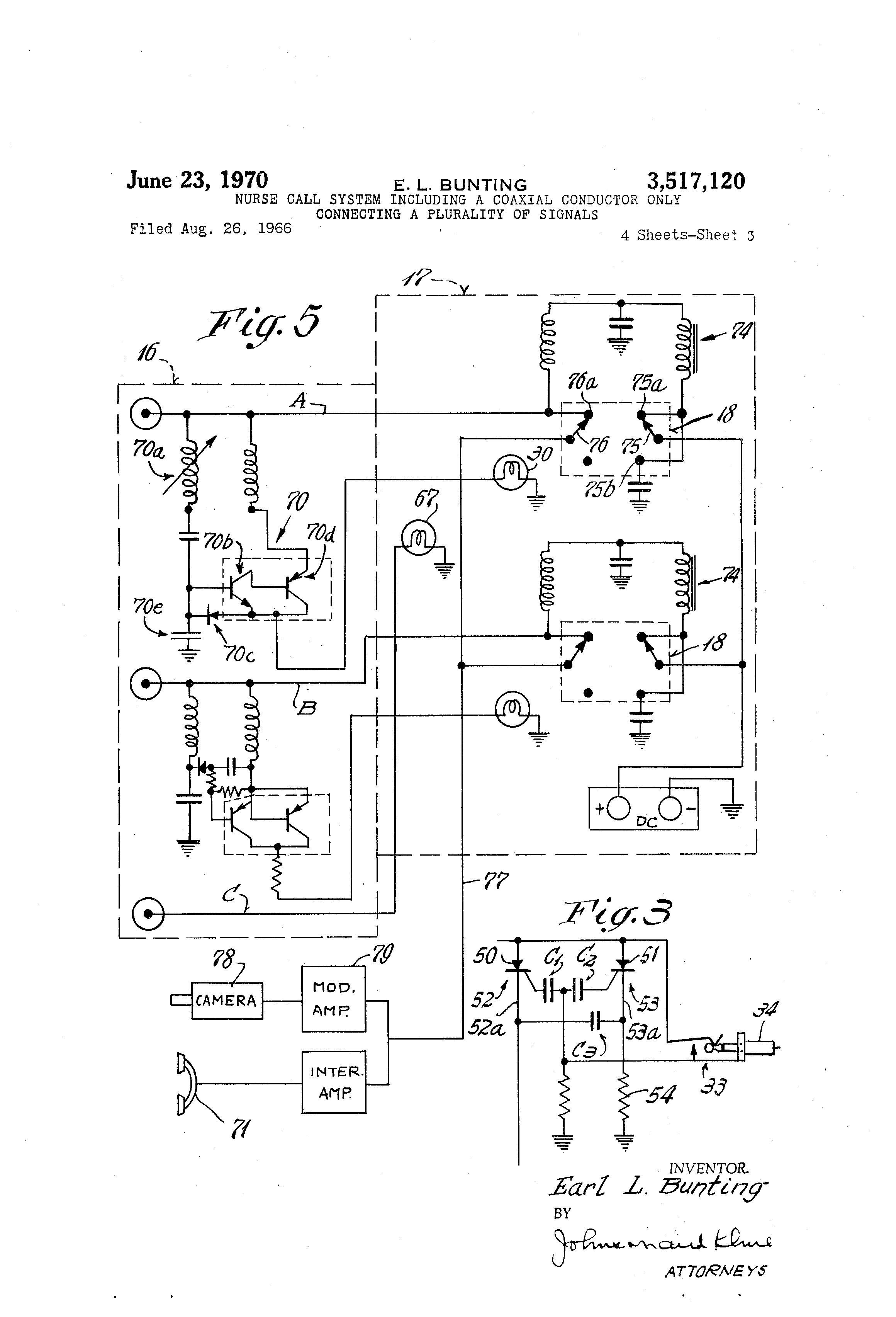 US3517120 2 patent us3517120 nurse call system including a coaxial conductor nurse call station wiring diagram at eliteediting.co