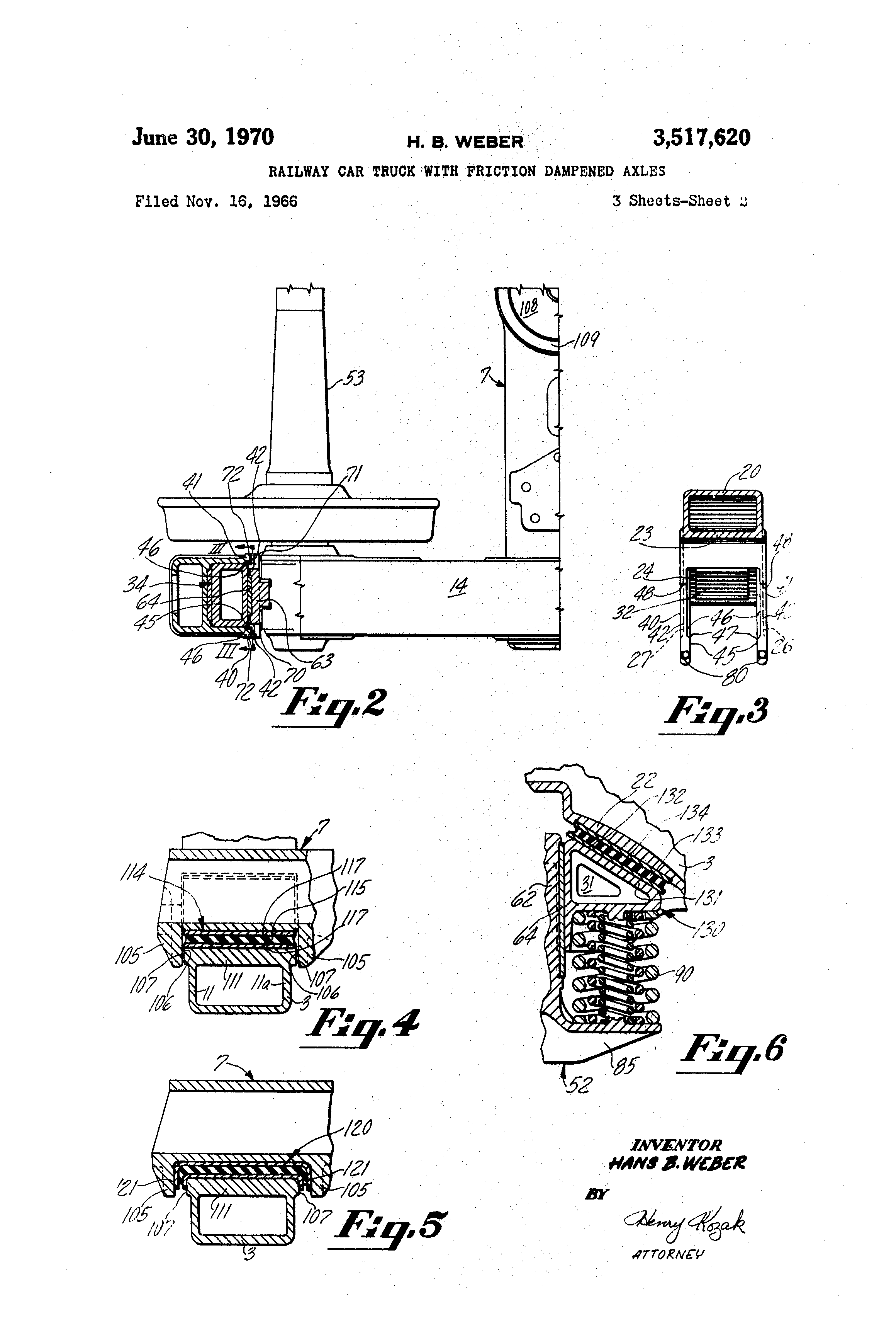 Patent US3517620 - Railway car truck with friction dampened