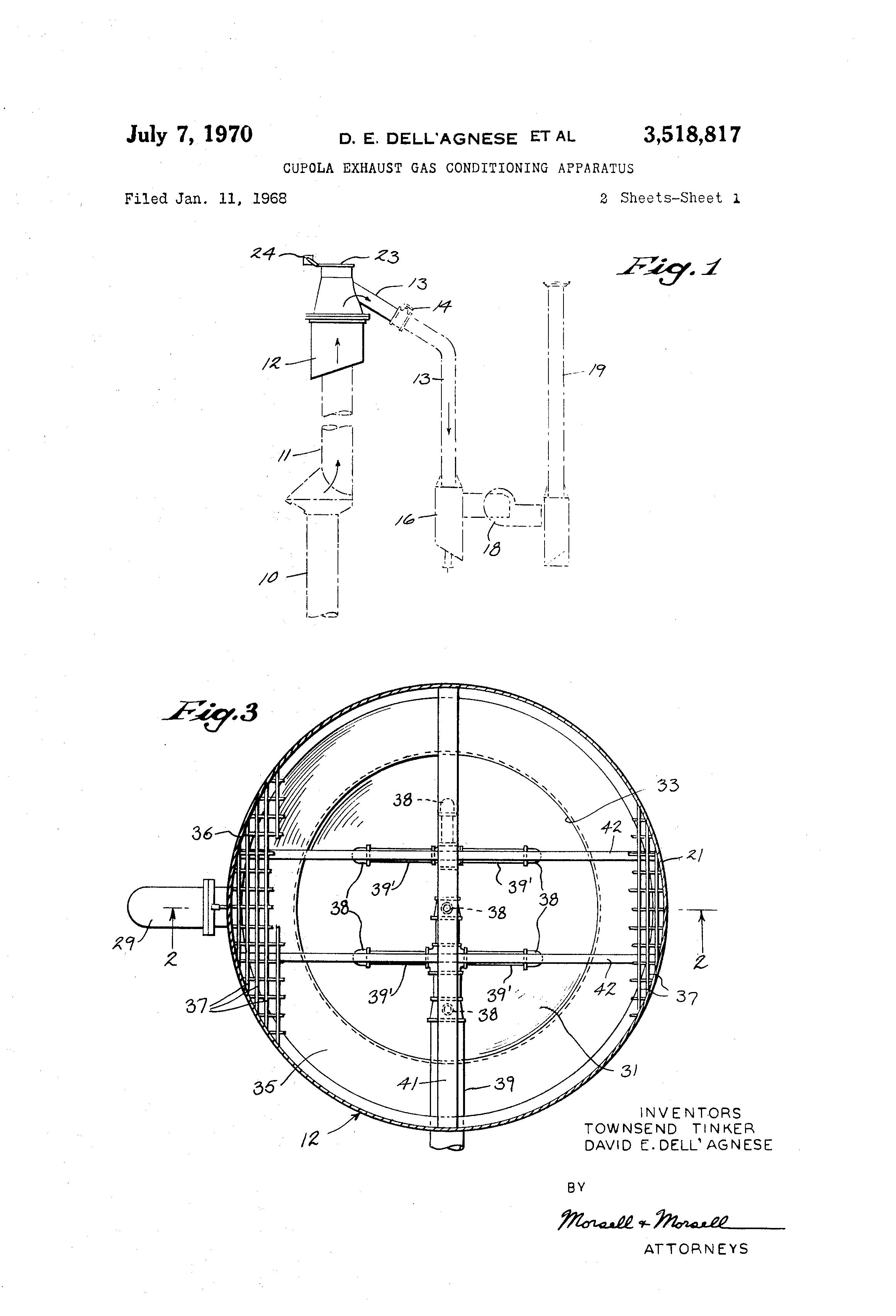 Patent Us3518817 Cupola Exhaust Gas Conditioning Apparatus Schematic Drawing