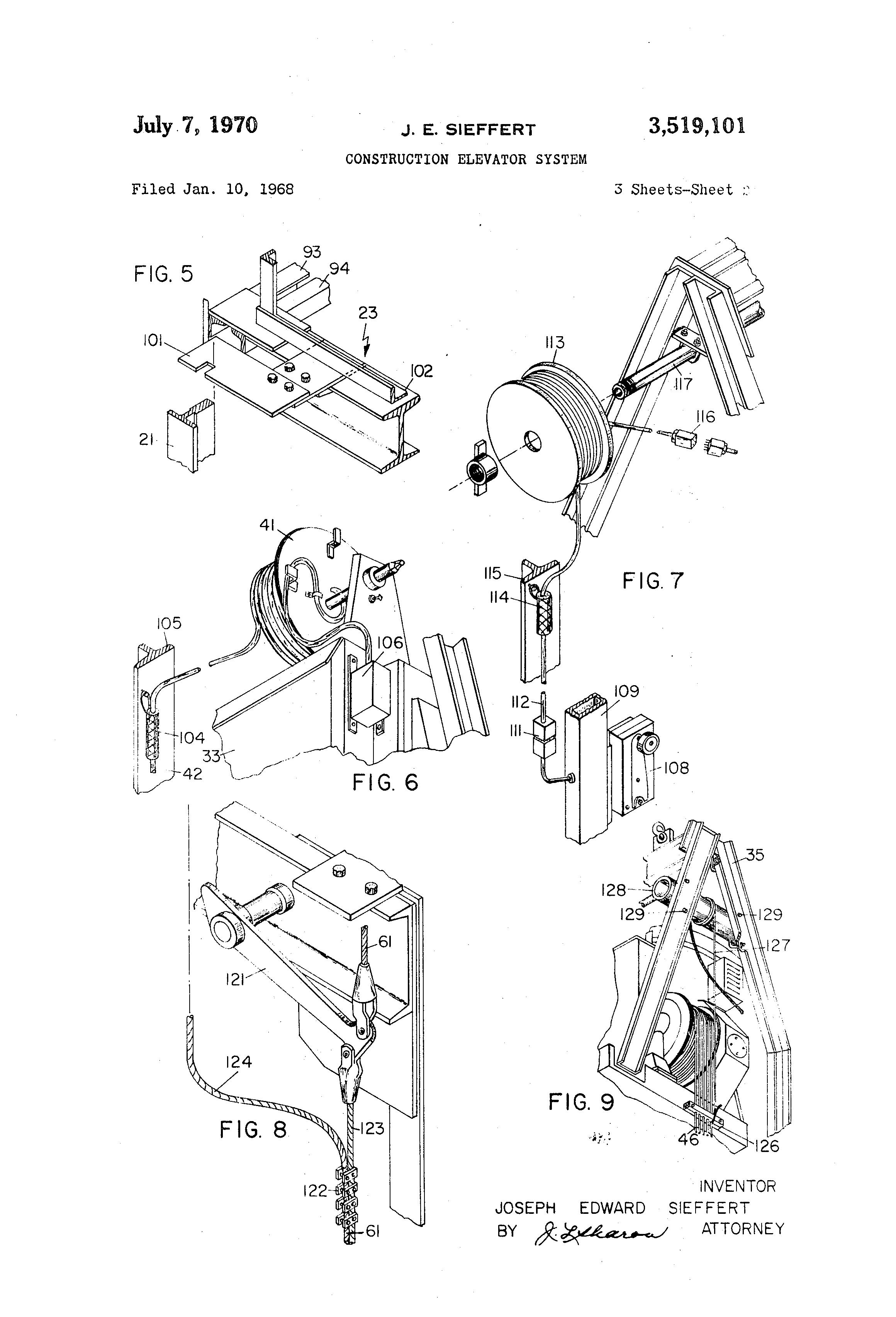 patent us3519101 - construction elevator system