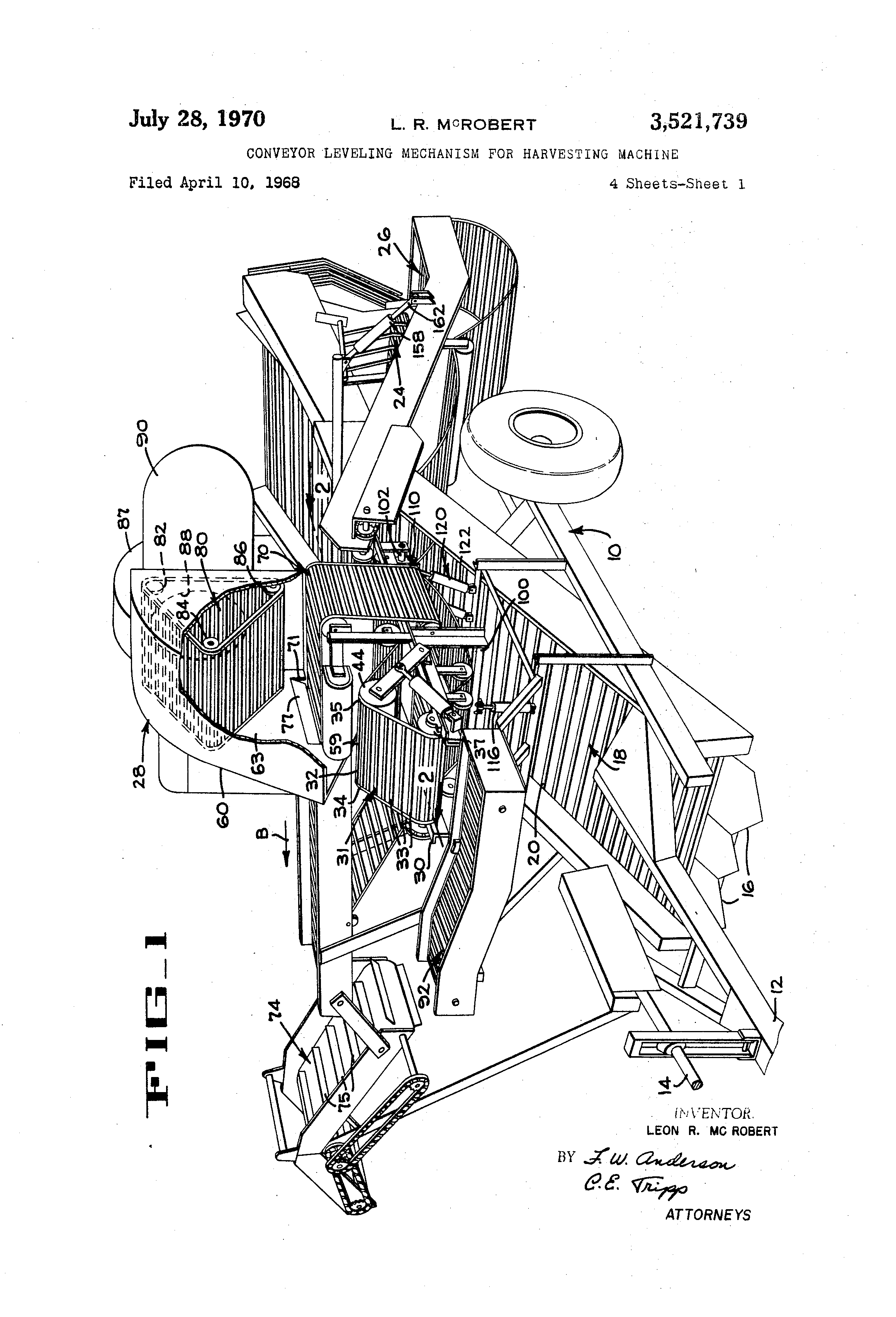 Patent Us3521739 - Conveyor Leveling Mechanism For Harvesting Machine