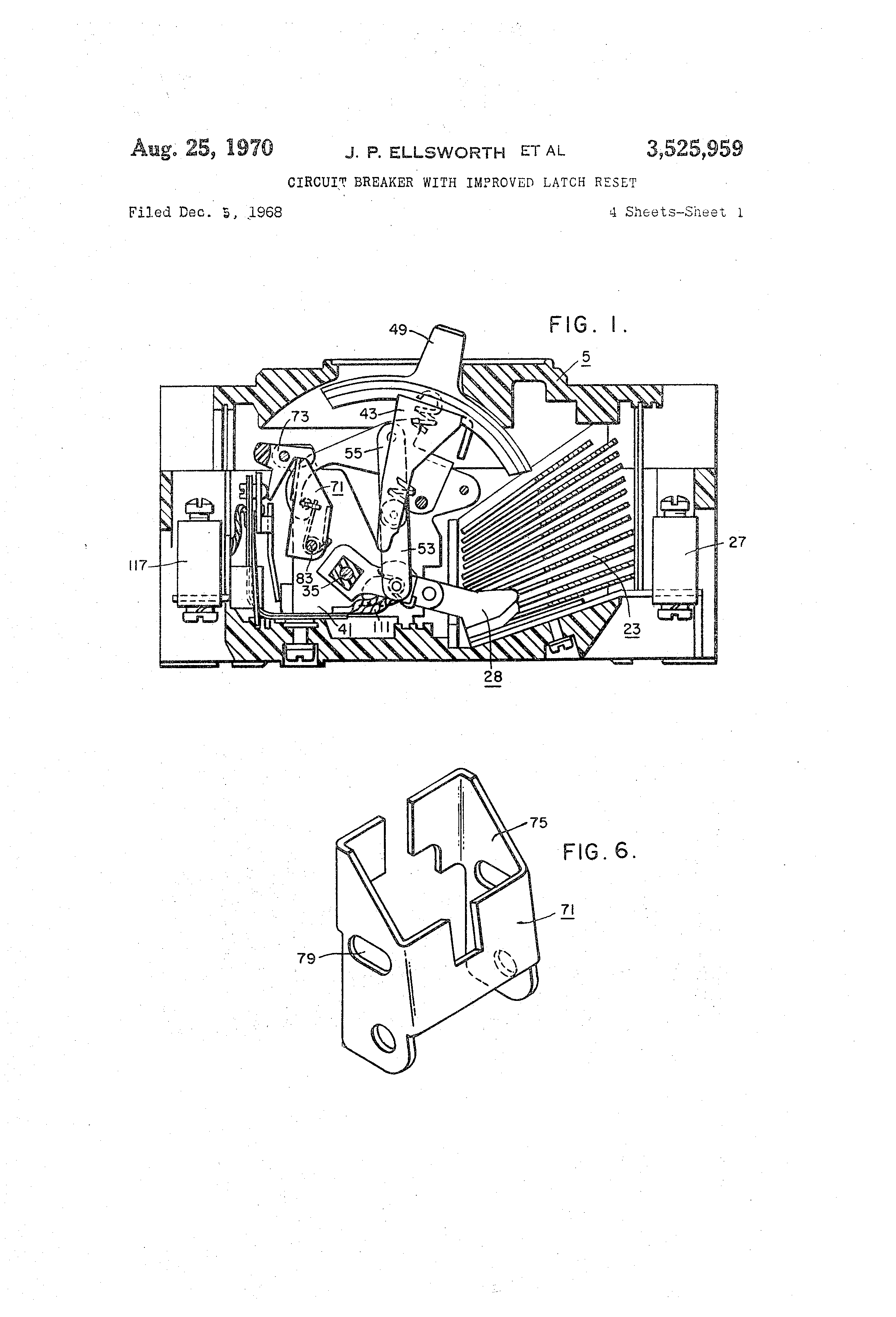 patent us3525959 - circuit breaker with improved latch reset