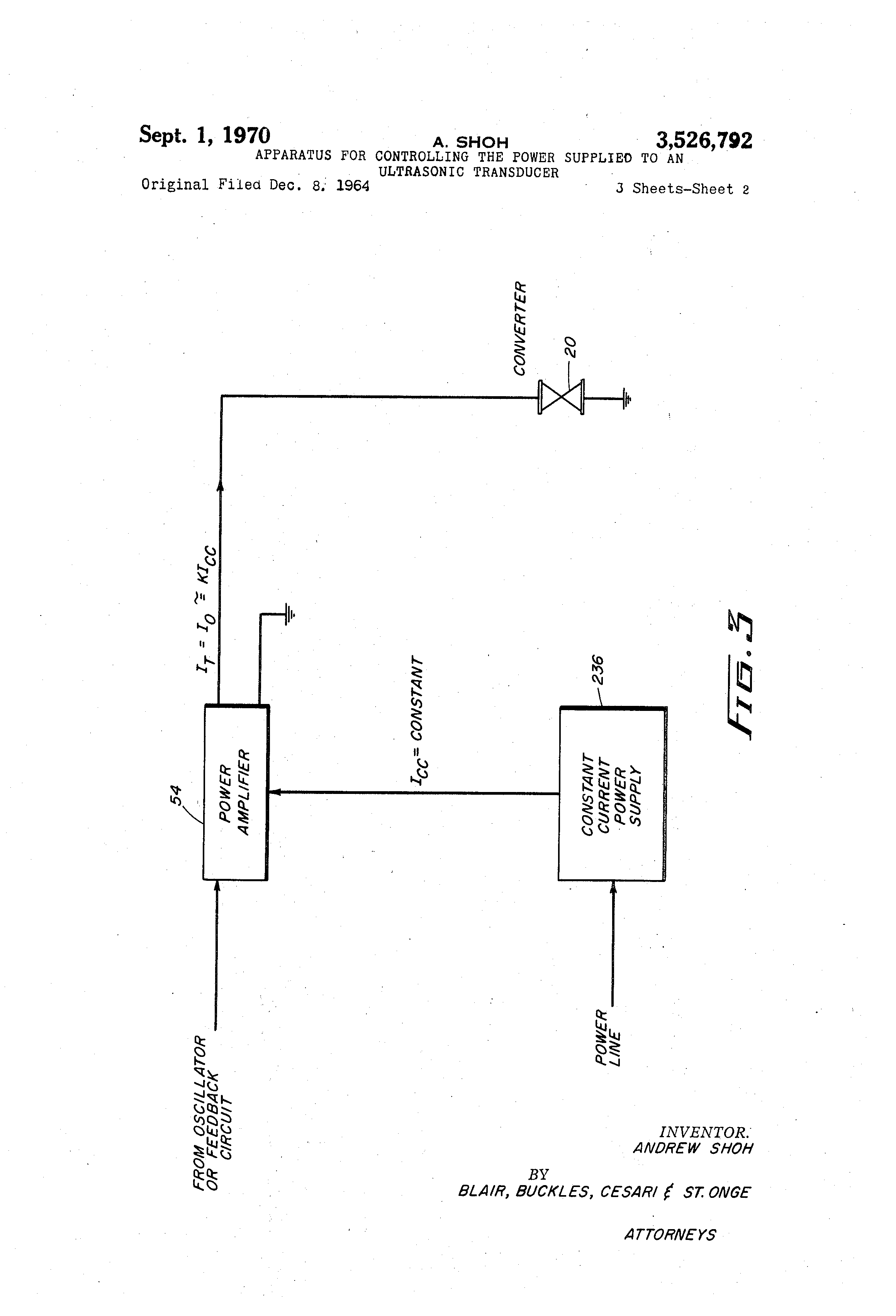 Patent US3526792 - Apparatus for controlling the power
