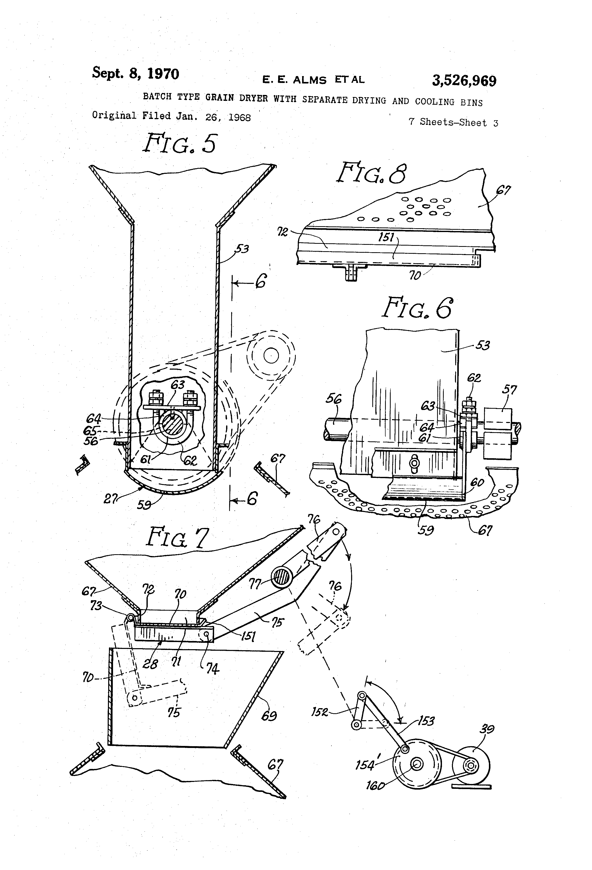 patent us3526969 batch type grain dryer separate drying and patent drawing