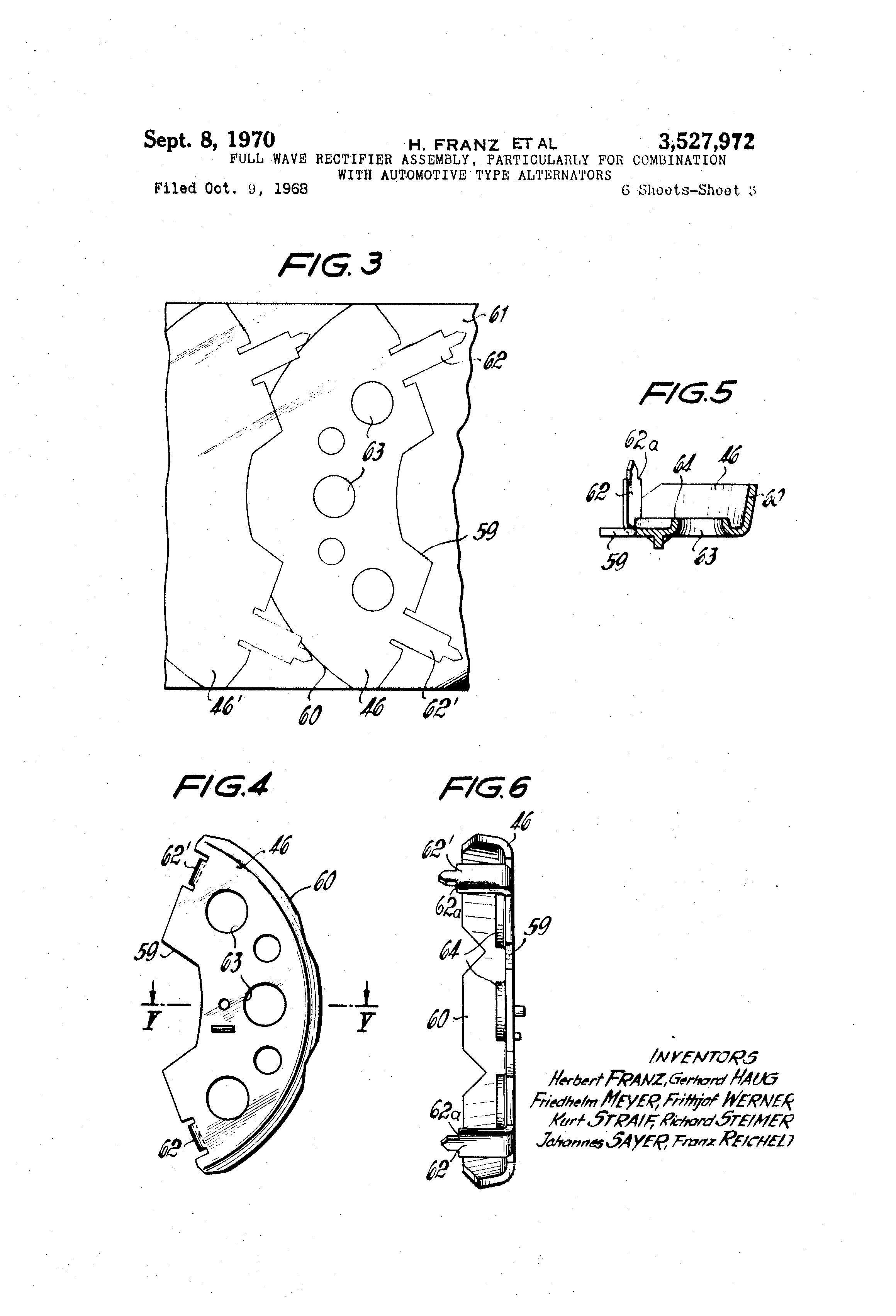 Patent Us3527972 Full Wave Rectifier Assemblyparticularly For Diagram Drawing