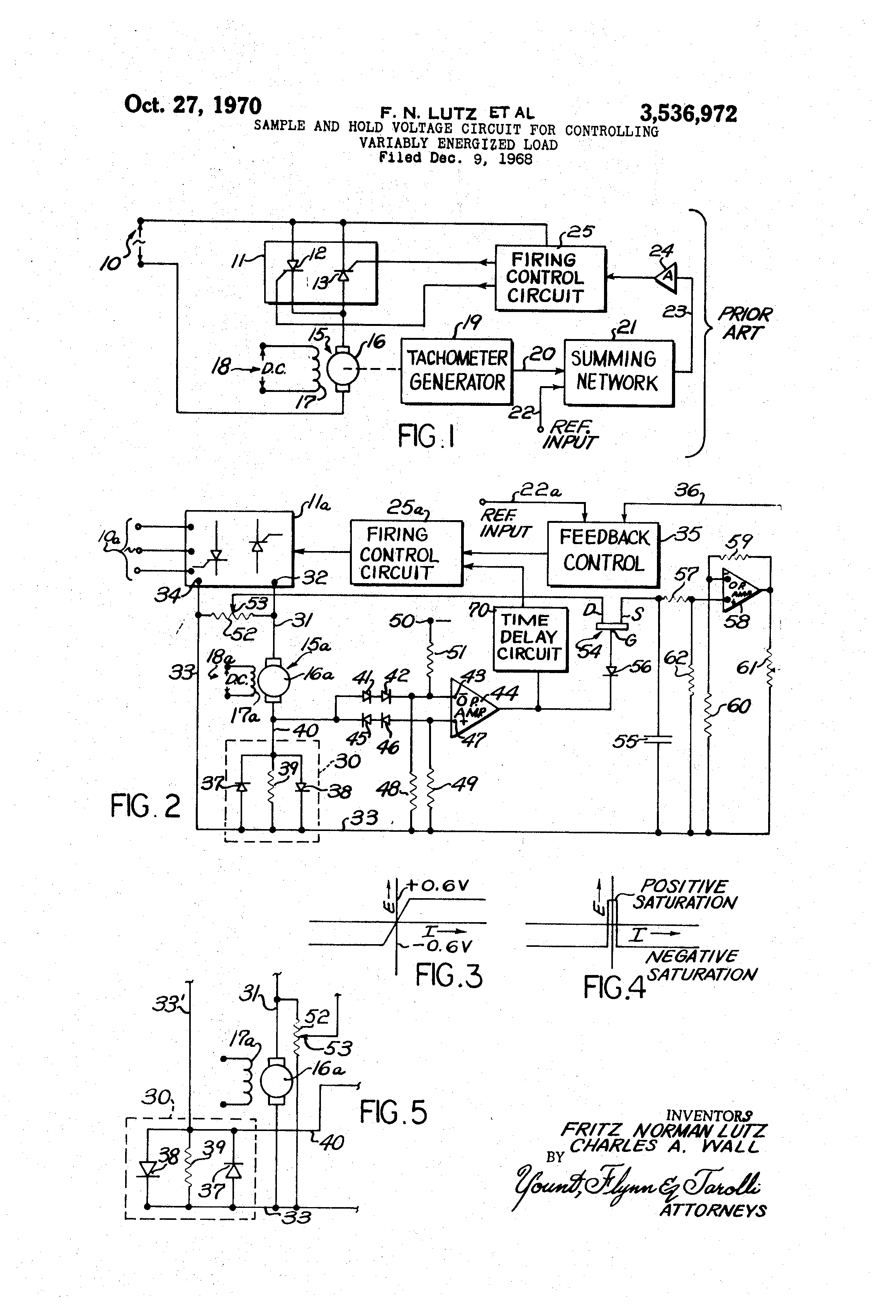Patent Us3536972 Sample And Hold Voltage Circuit For Controlling Divider Drawing