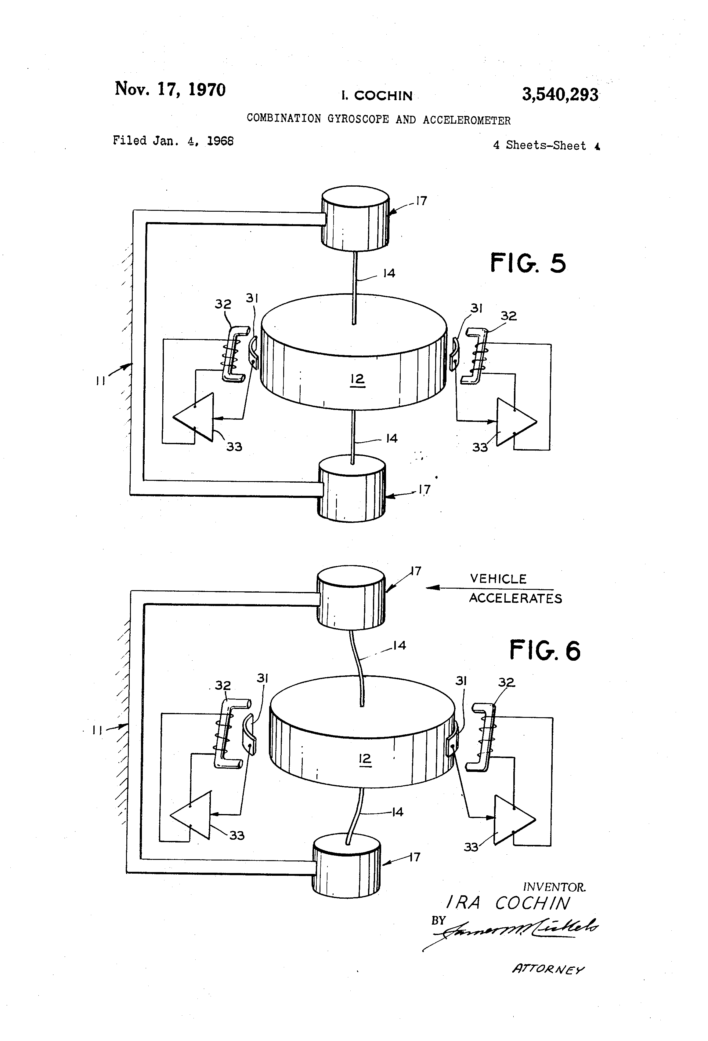 Patent US3540293 - Combination gyroscope and accelerometer